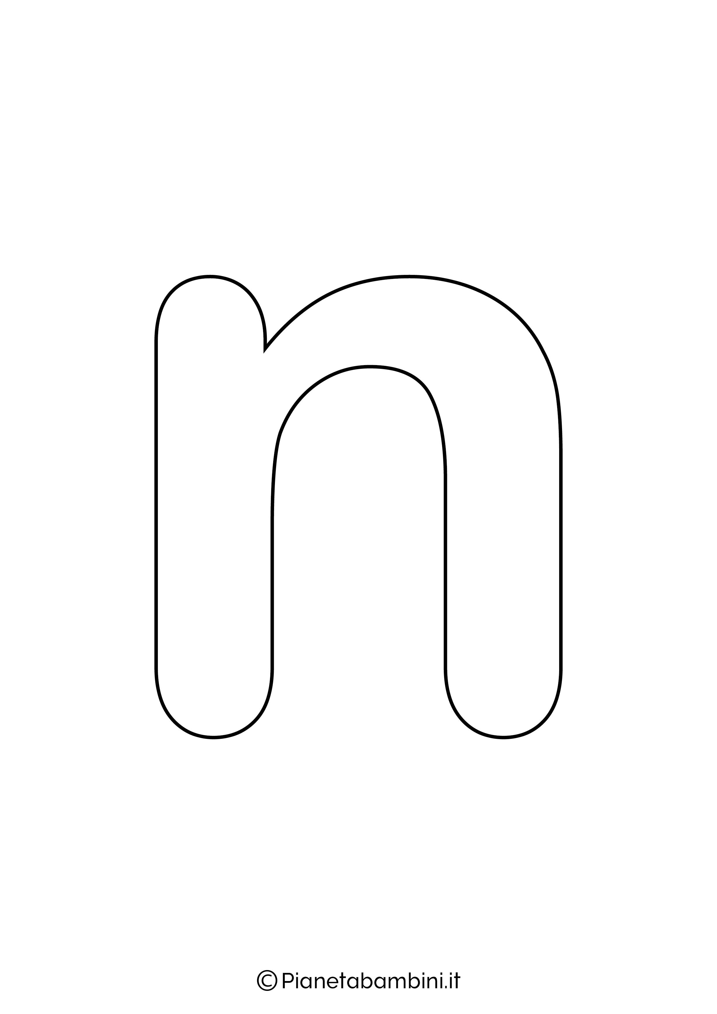 Lettera N minuscola da stampare