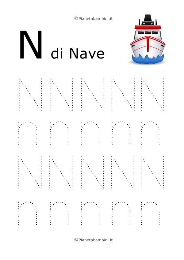 Scheda di pregrafismo lettera N grande in stampatello