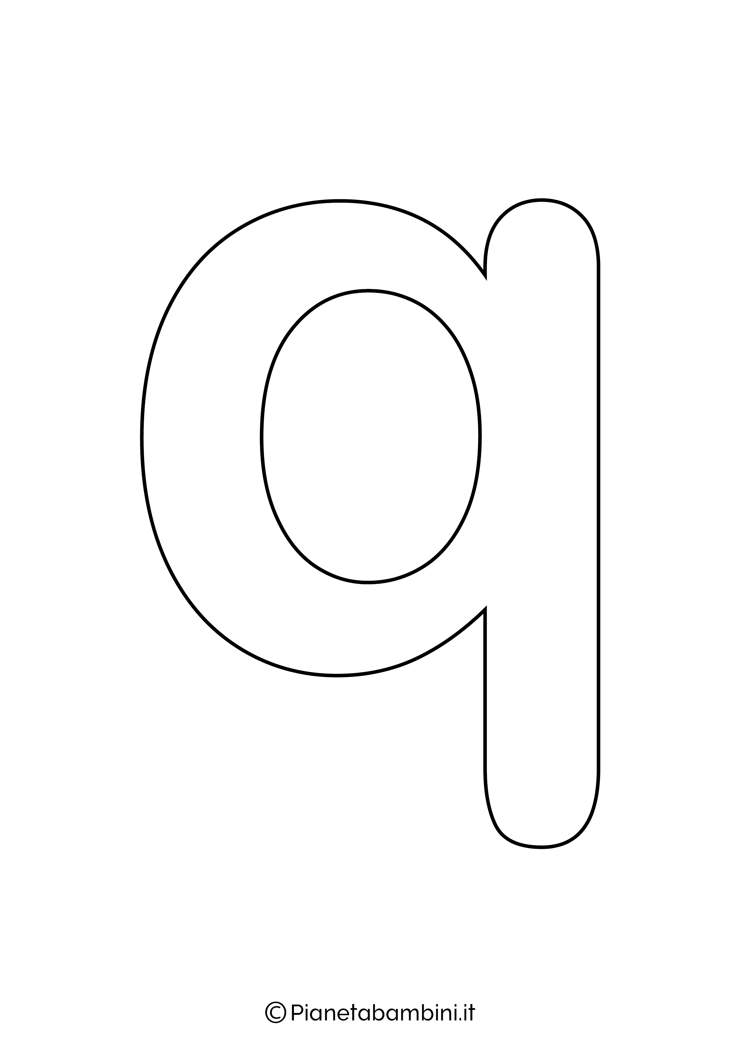 Lettera Q minuscola da stampare