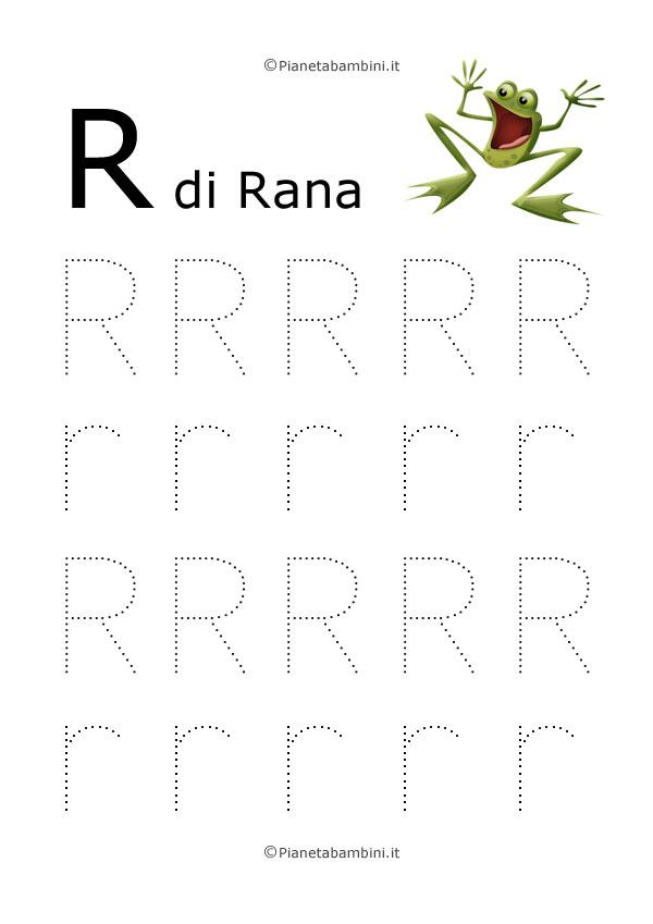 Scheda di pregrafismo lettera R grande in stampatello