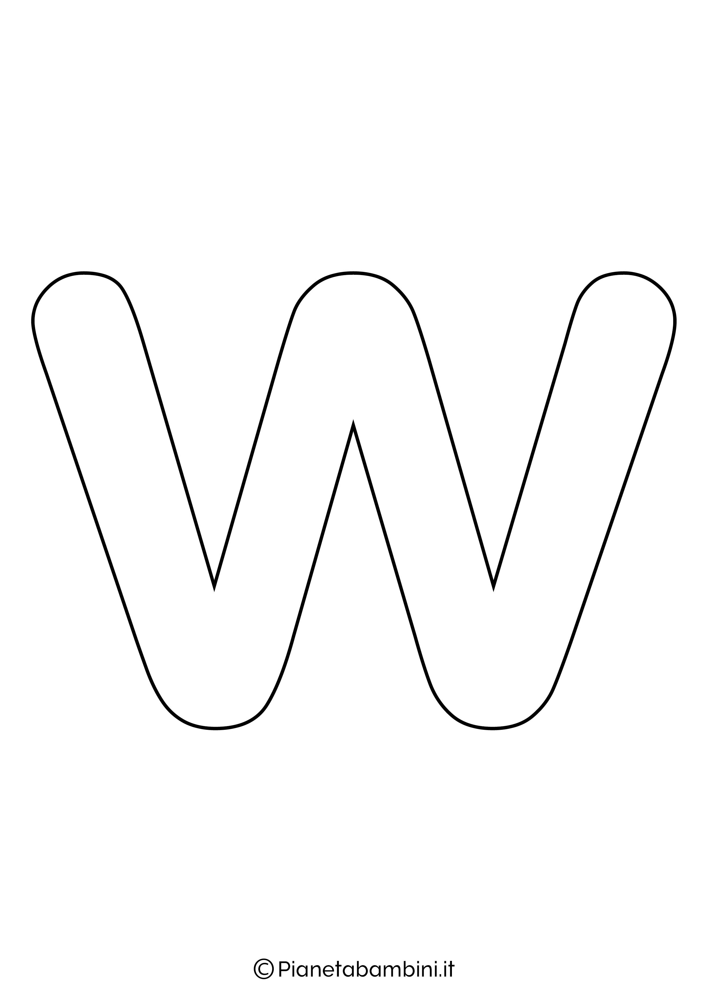 Lettera W minuscola da stampare