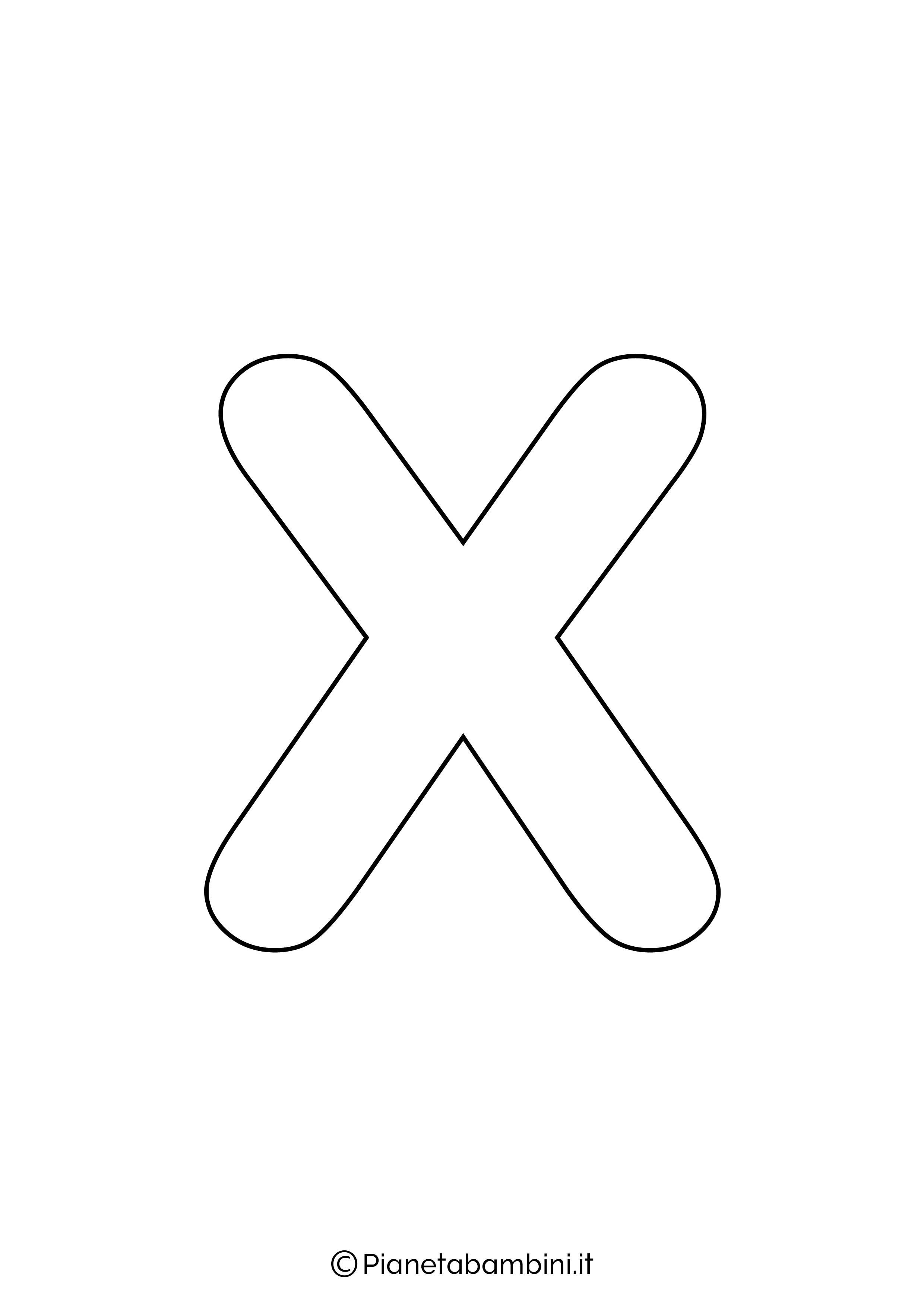 Lettera X minuscola da stampare