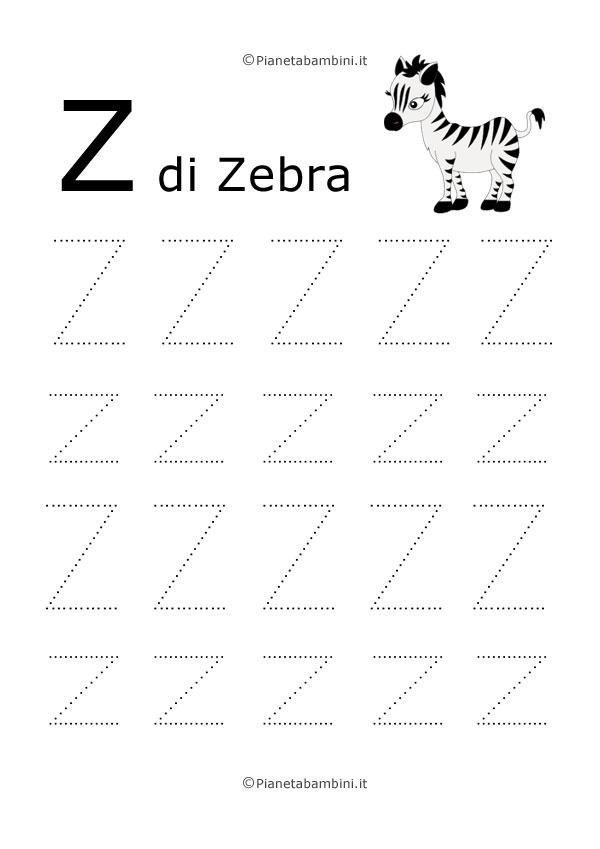 Scheda di pregrafismo lettera Z grande in stampatello