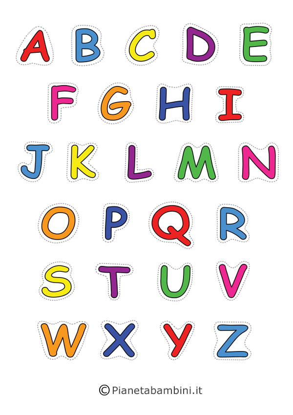 Lettere dell Alfabeto da Stampare Colorare e Ritagliare