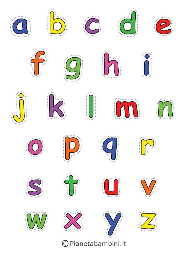Lettere minuscole colorare