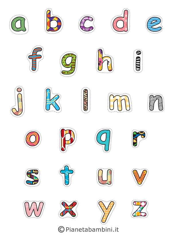 Lettere minuscole multicolore