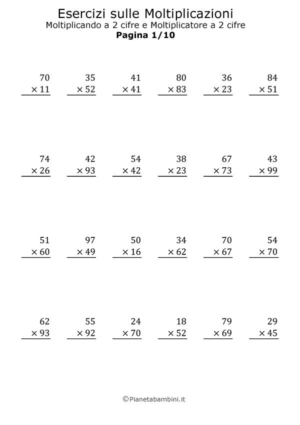 Preferenza Moltiplicazioni in Colonna a due Cifre al Moltiplicatore  SP31