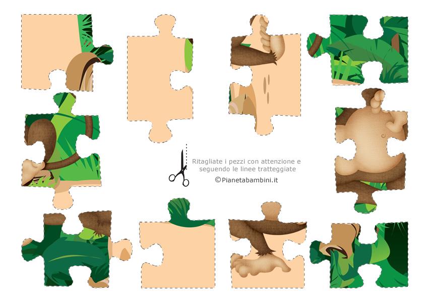 Puzzle sugli animali in pezzi da ritagliare e incollare