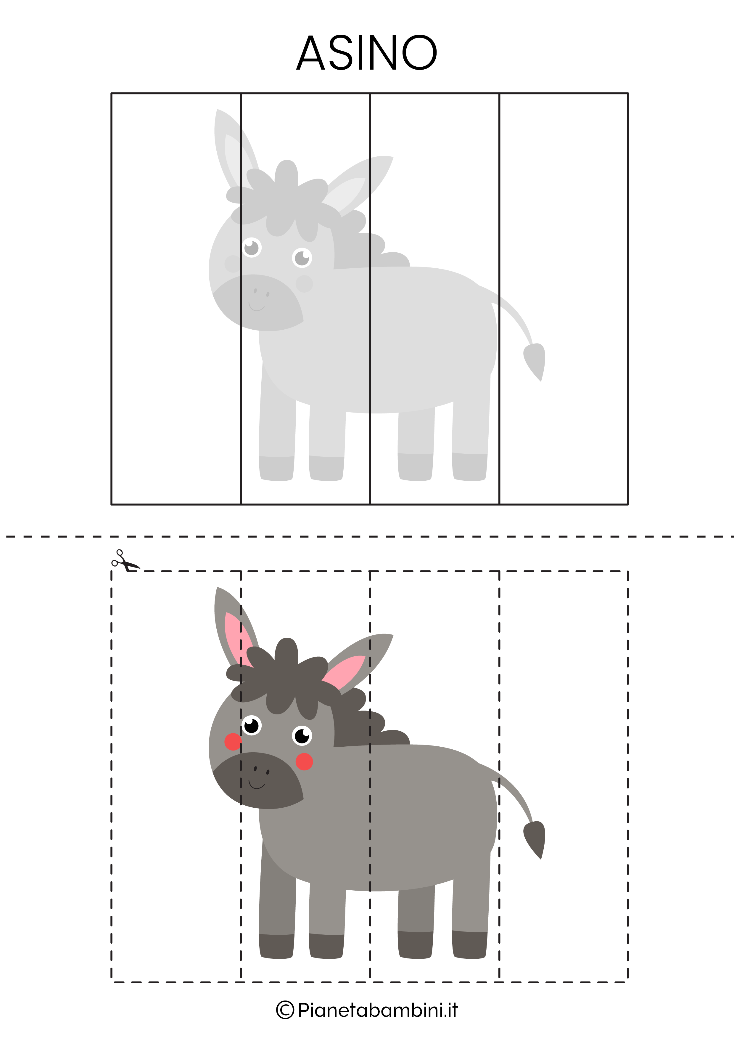 Puzzle dell'asino da 4 pezzi da ritagliare e ricomporre