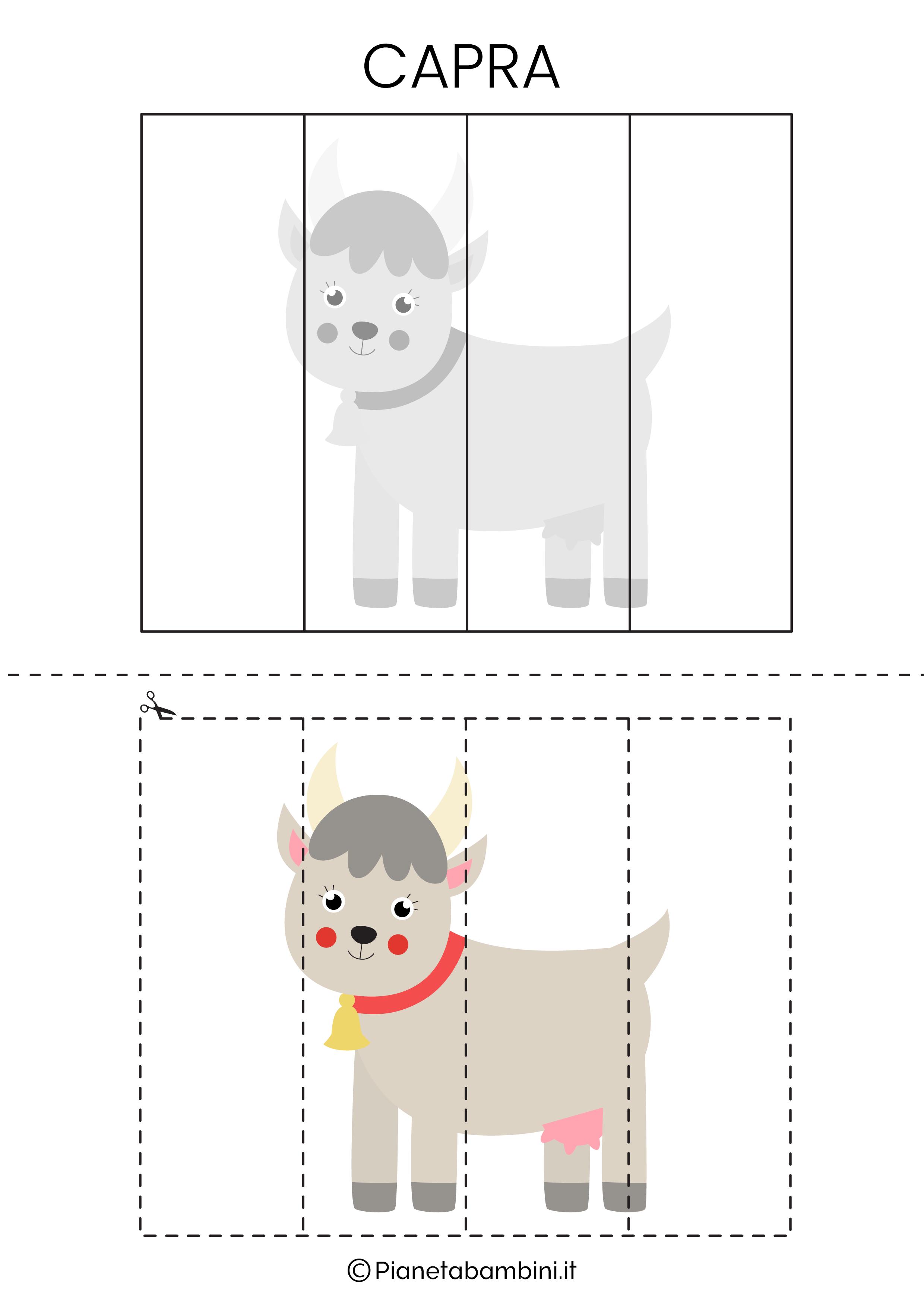 Puzzle della capra da 4 pezzi da ritagliare e ricomporre