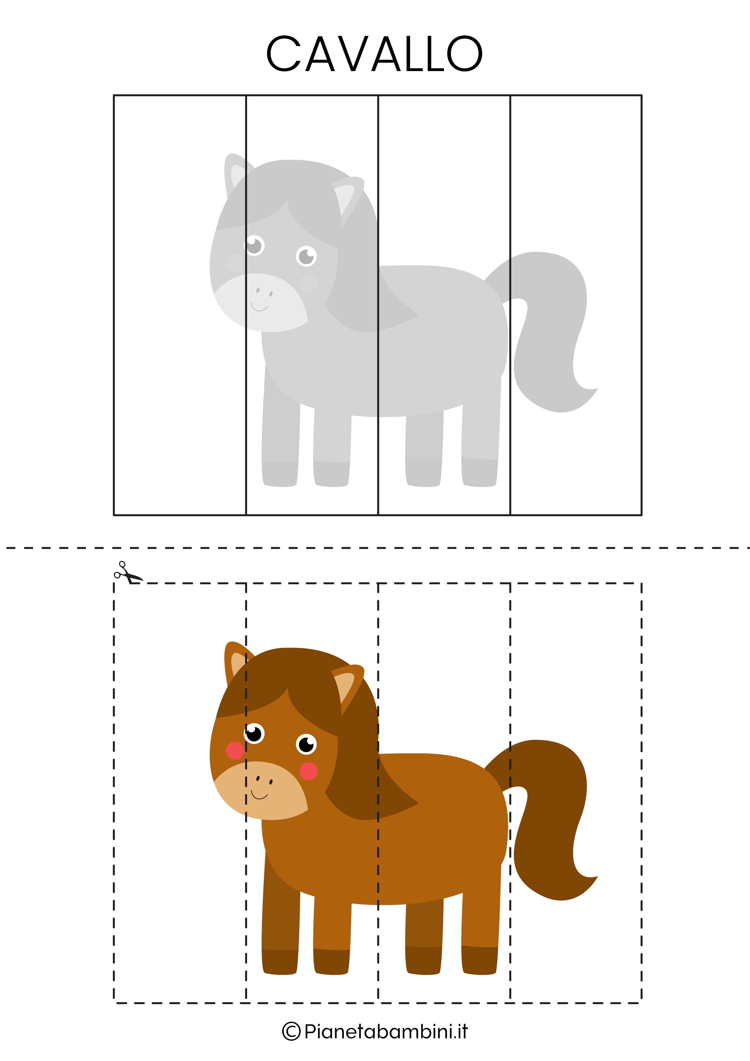 Puzzle del cavallo da 4 pezzi da ritagliare e ricomporre