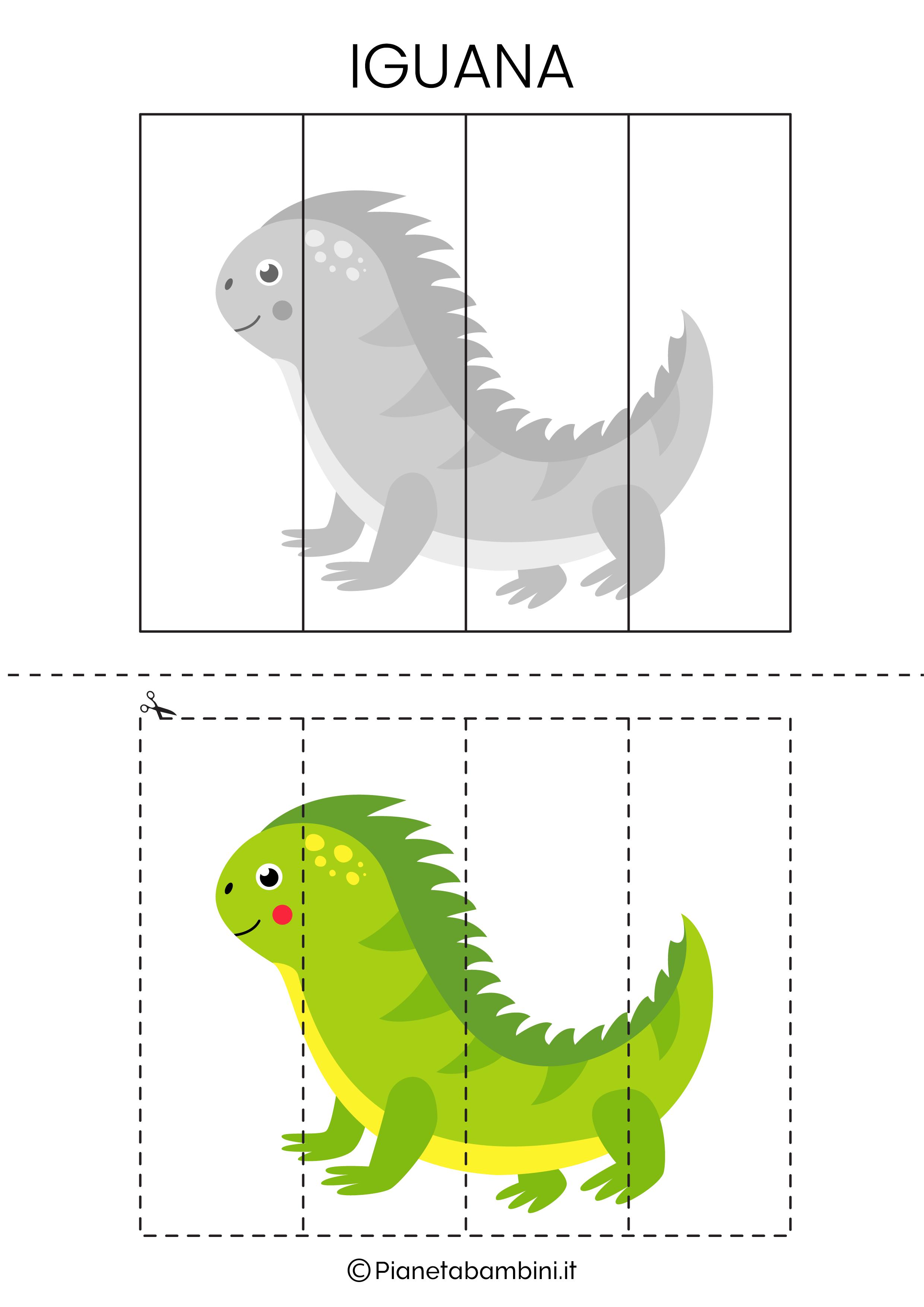 Puzzle dell'iguana da 4 pezzi da ritagliare e ricomporre