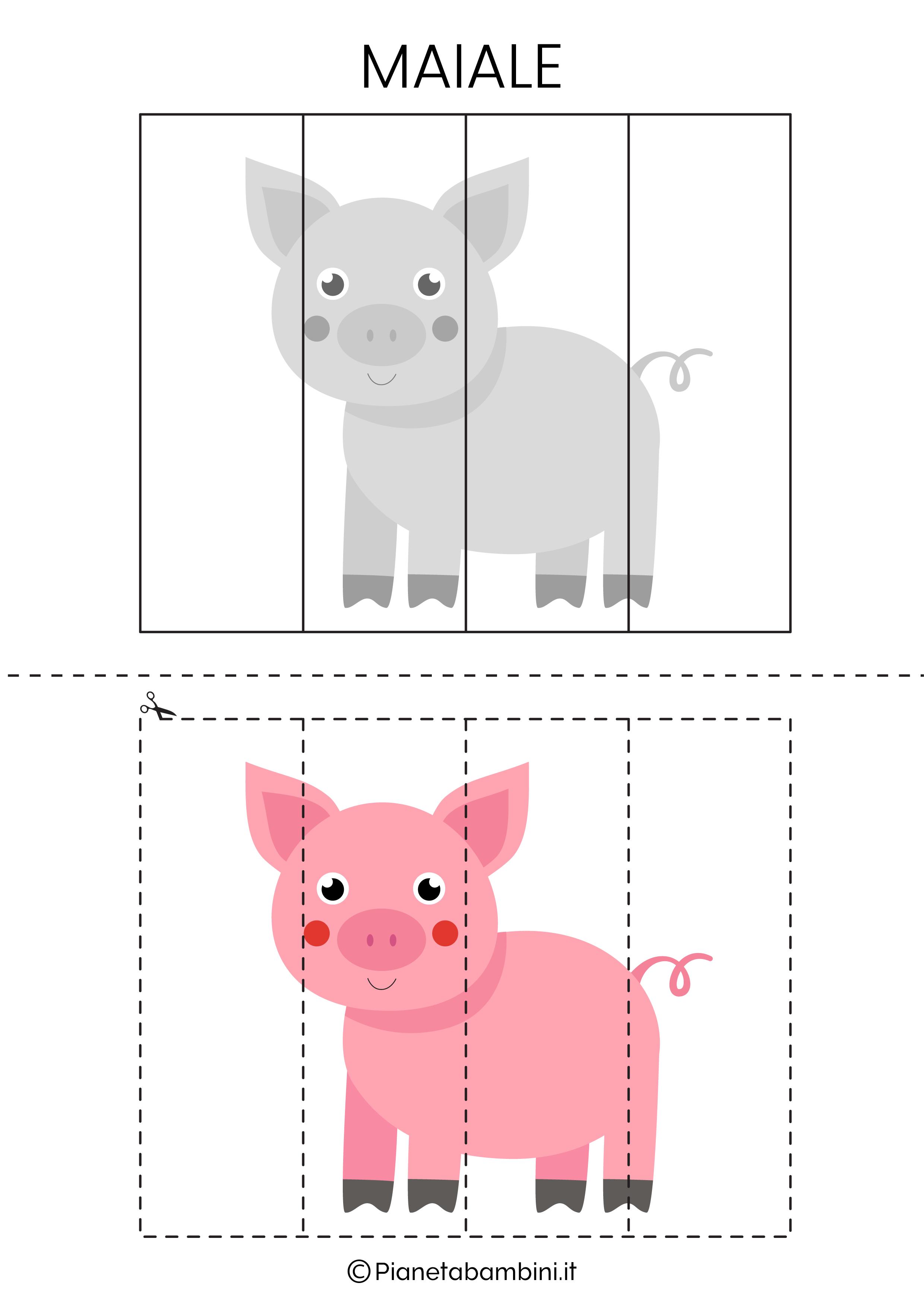 Puzzle del maiale da 4 pezzi da ritagliare e ricomporre