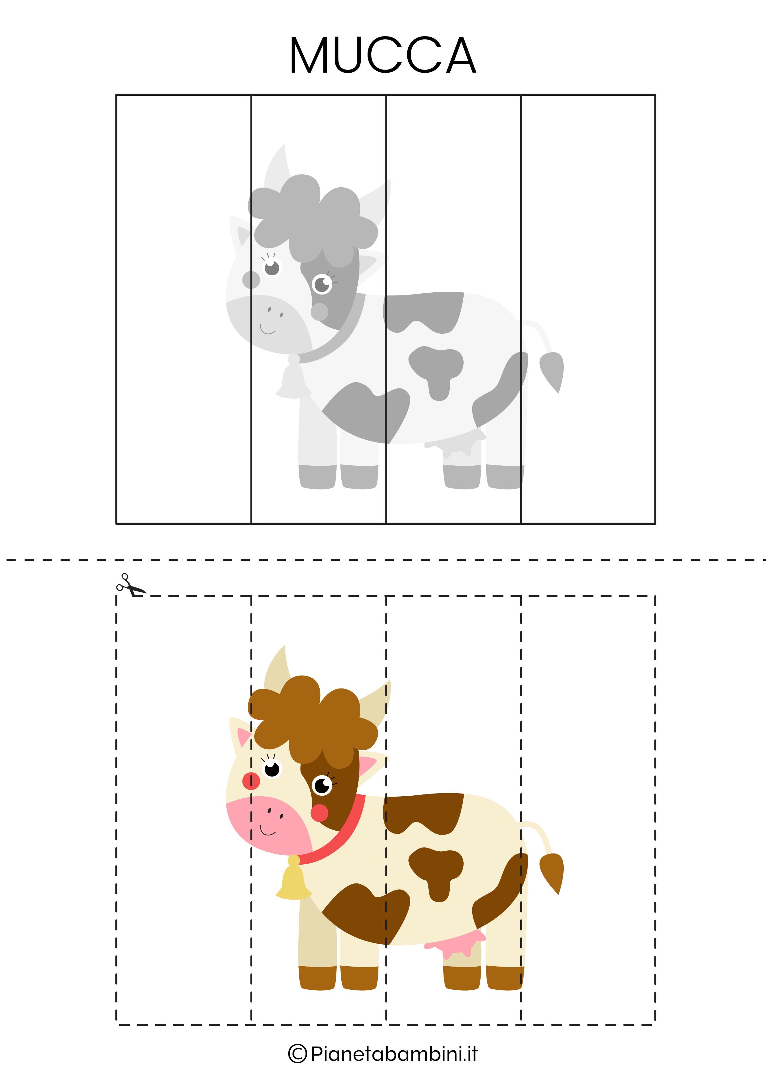 Puzzle della mucca da 4 pezzi da ritagliare e ricomporre