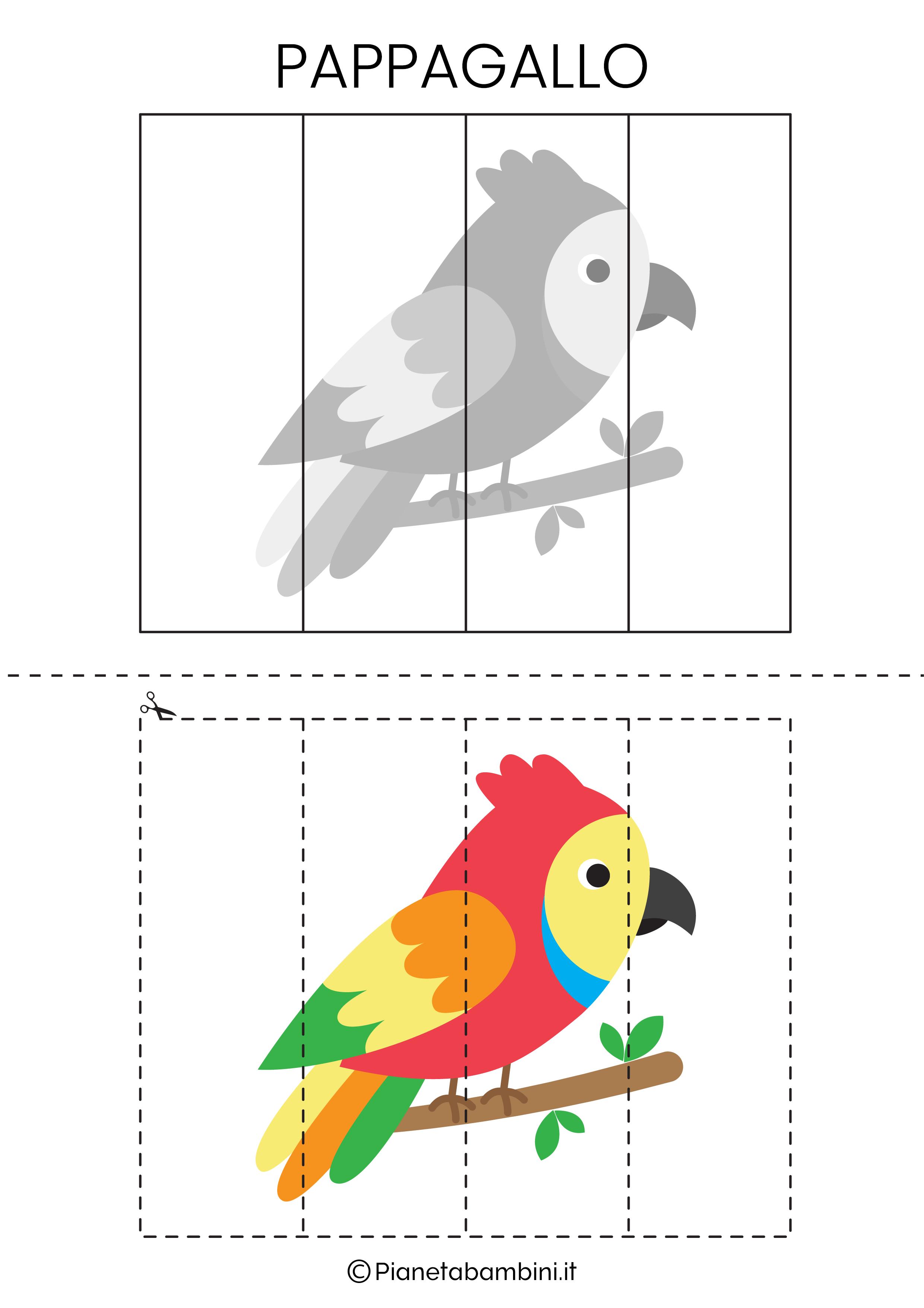Puzzle del pappagallo da 4 pezzi da ritagliare e ricomporre
