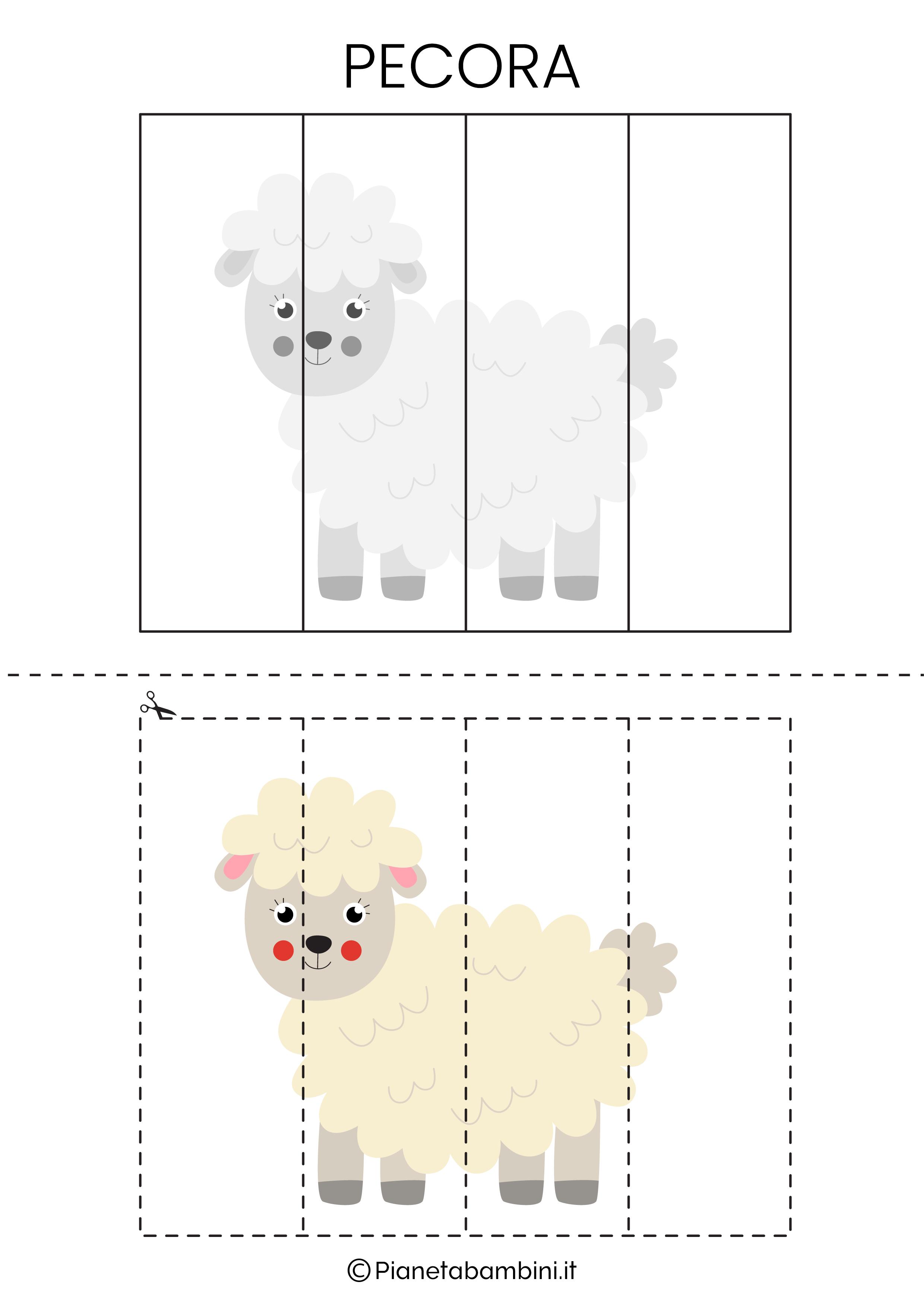 Puzzle della pecora da 4 pezzi da ritagliare e ricomporre