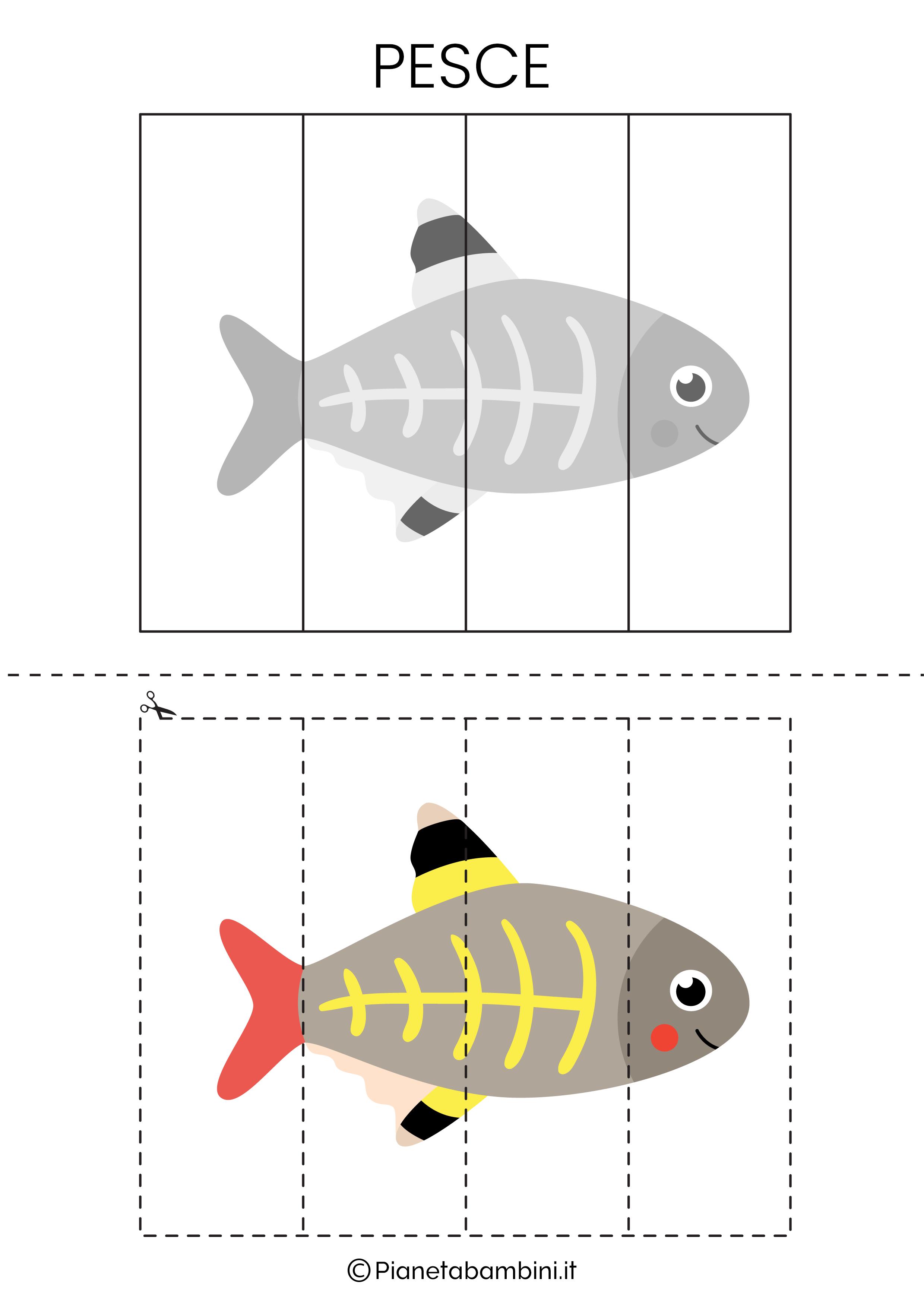 Puzzle del pesce da 4 pezzi da ritagliare e ricomporre