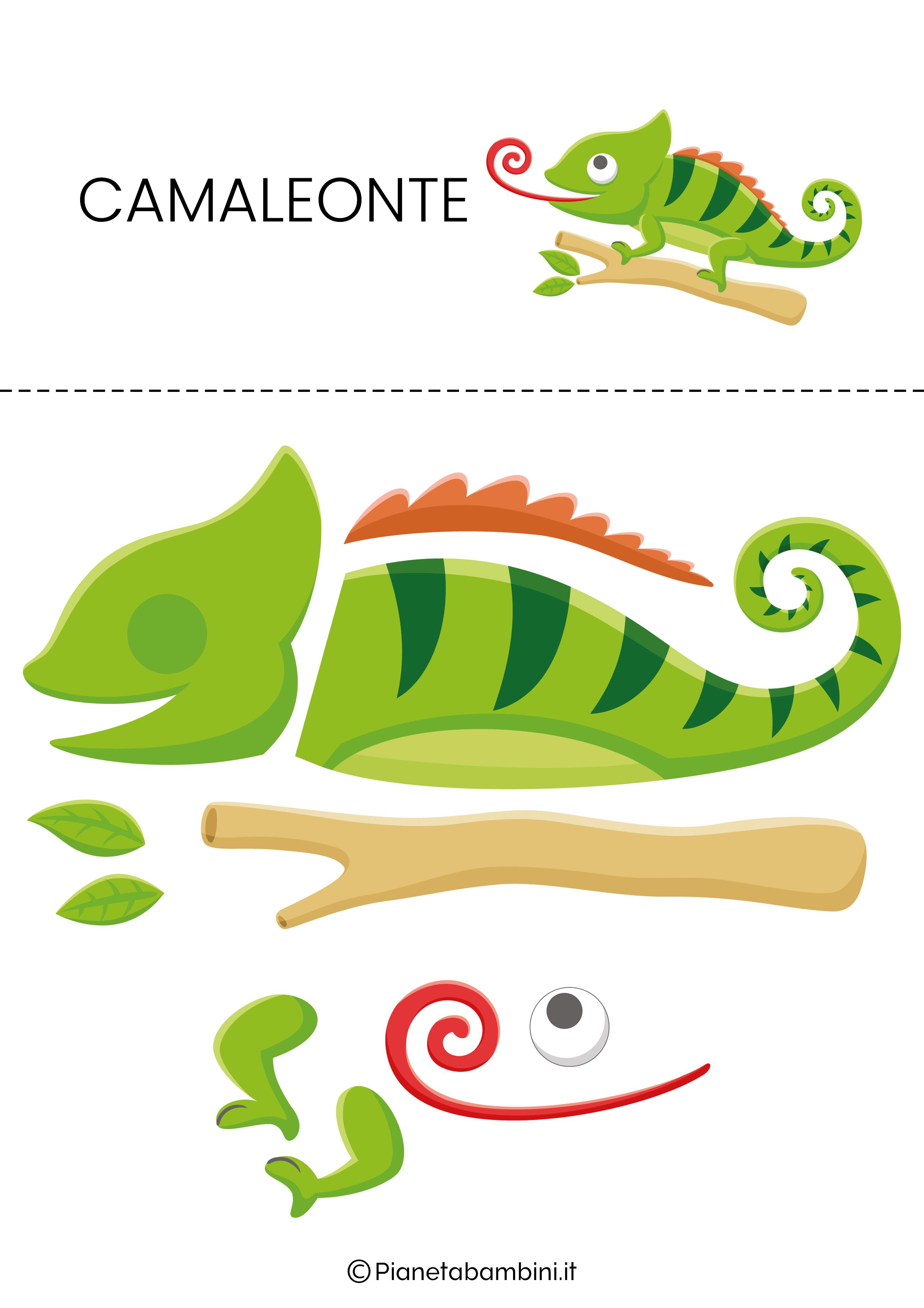 Puzzle da ritagliare e ricomporre sul camaleonte
