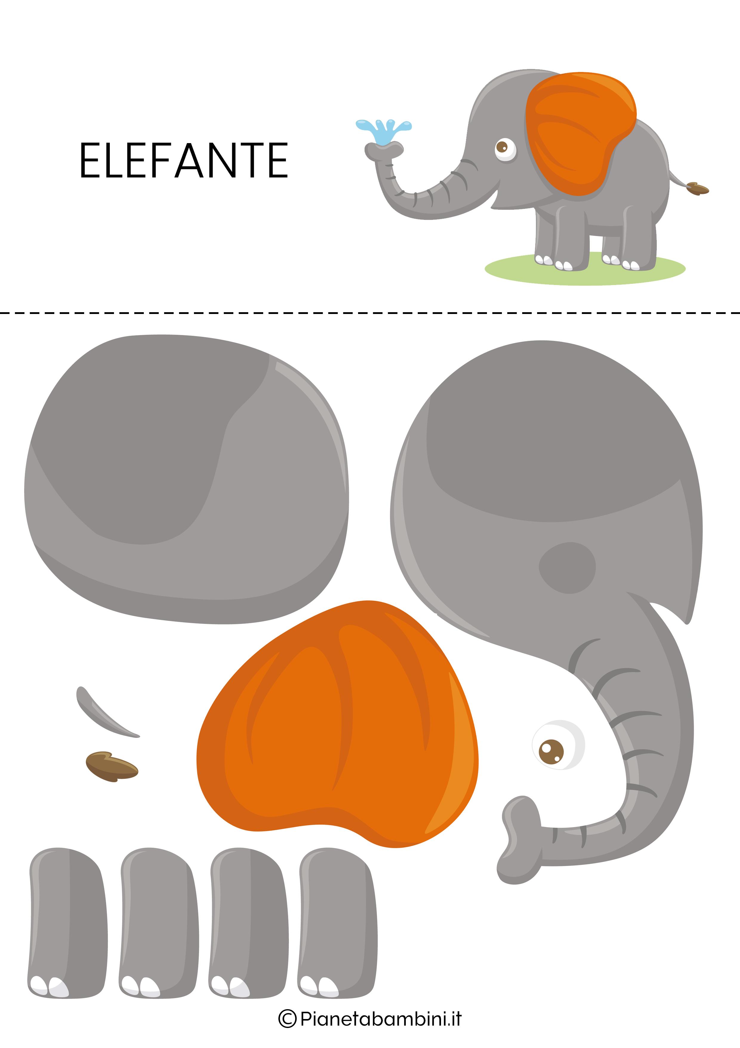 Puzzle da ritagliare e ricomporre sull'elefante
