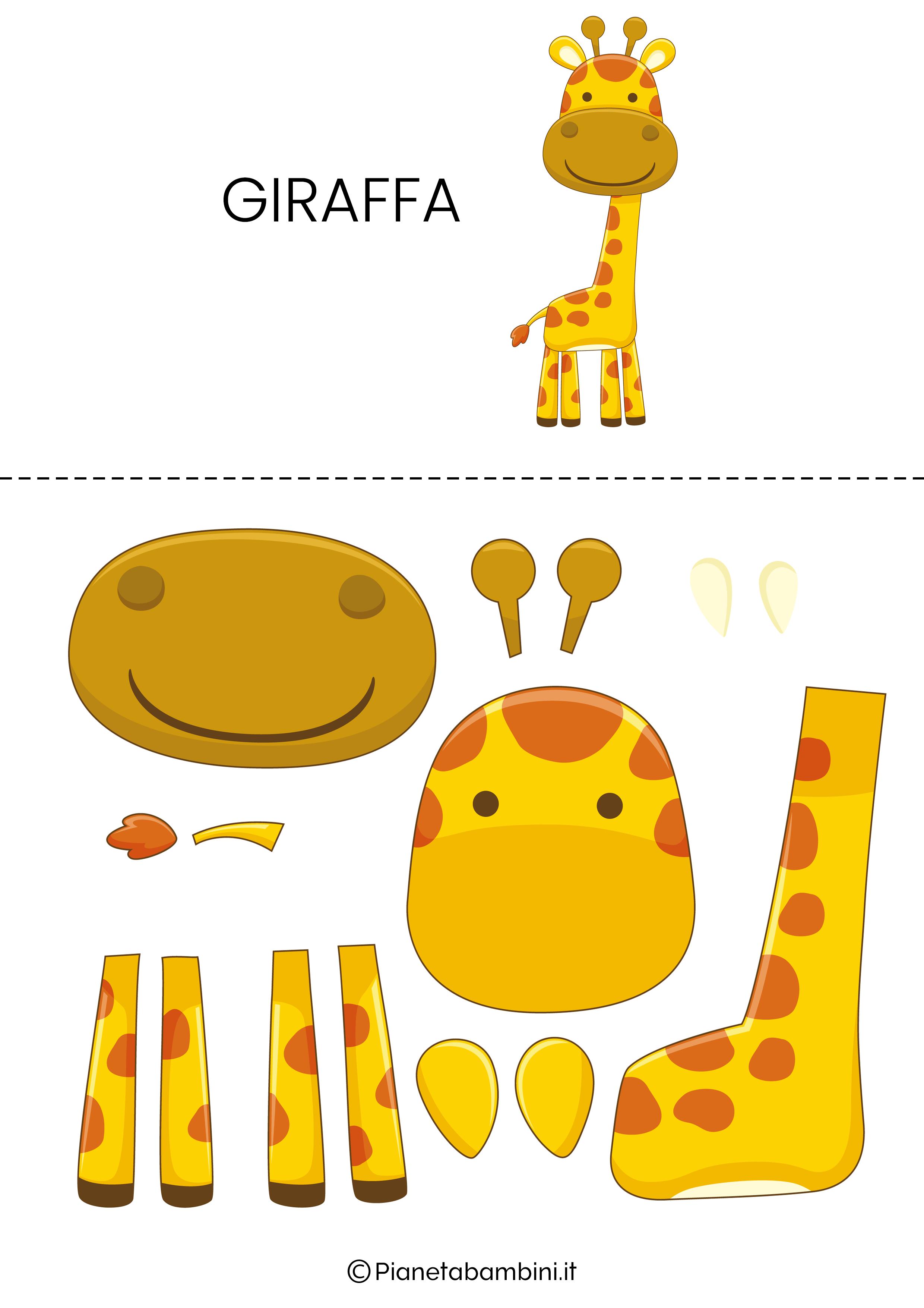 Puzzle da ritagliare e ricomporre sulla giraffa