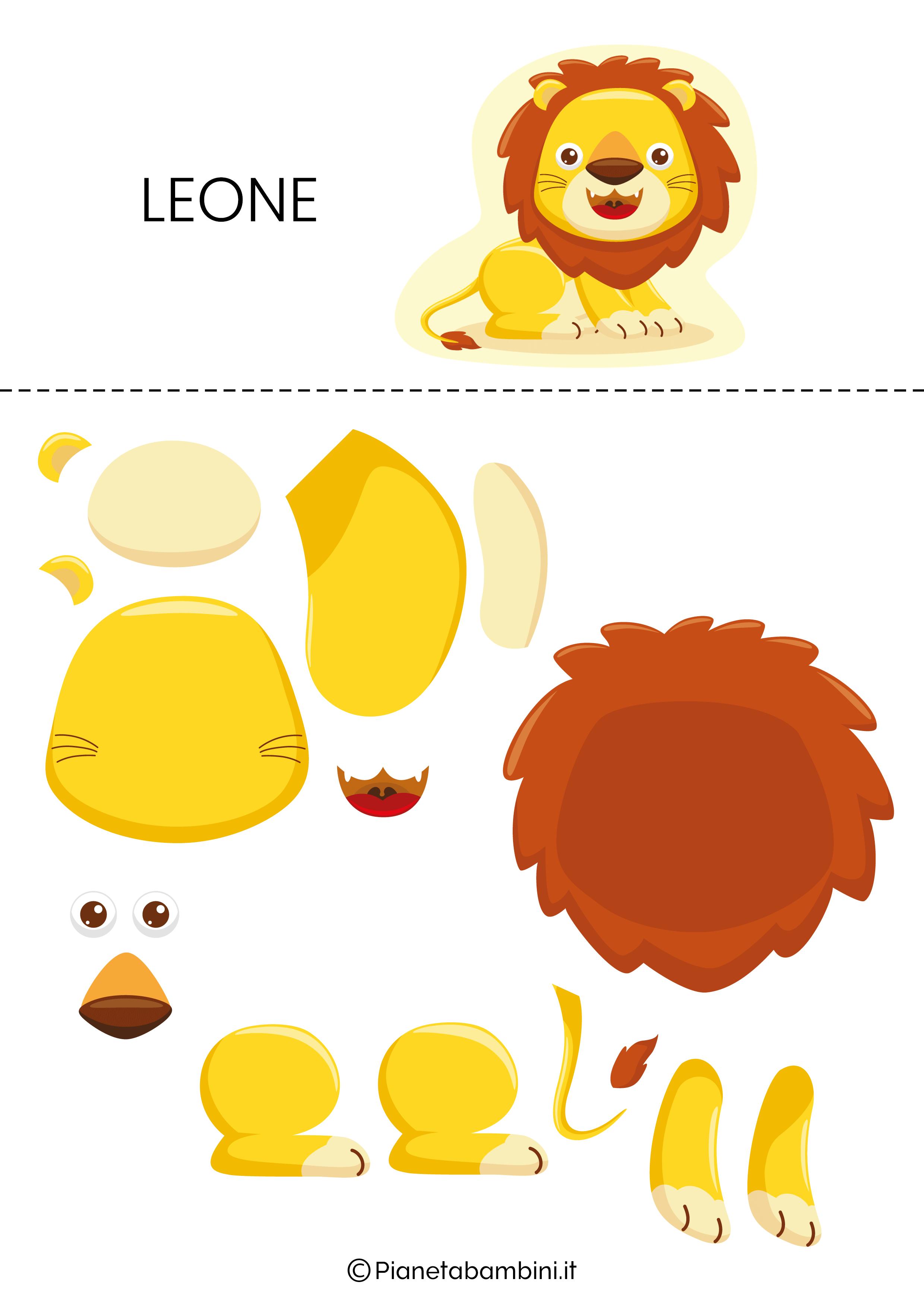 Puzzle da ritagliare e ricomporre sul leone