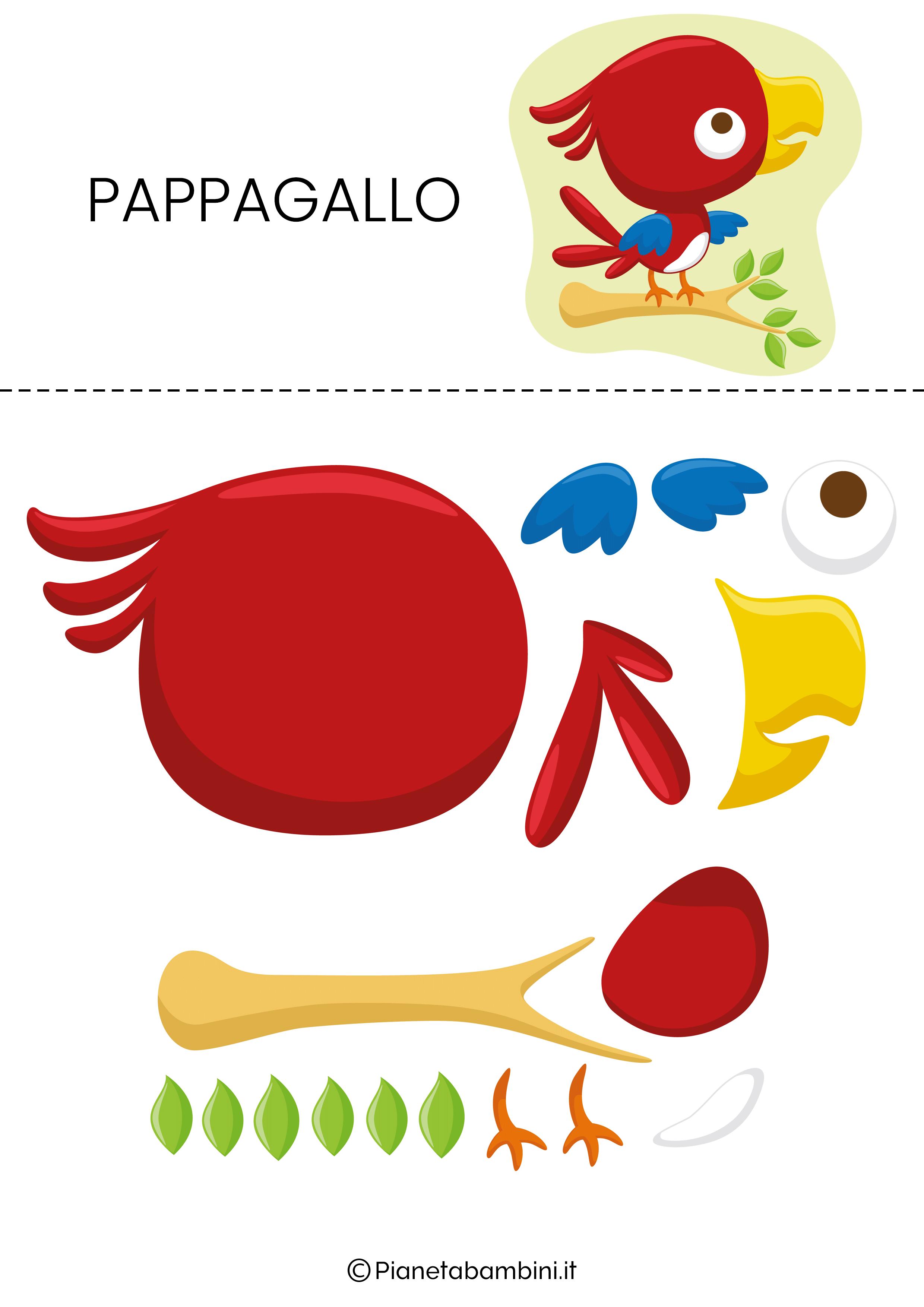 Puzzle da ritagliare e ricomporre sul pappagallo