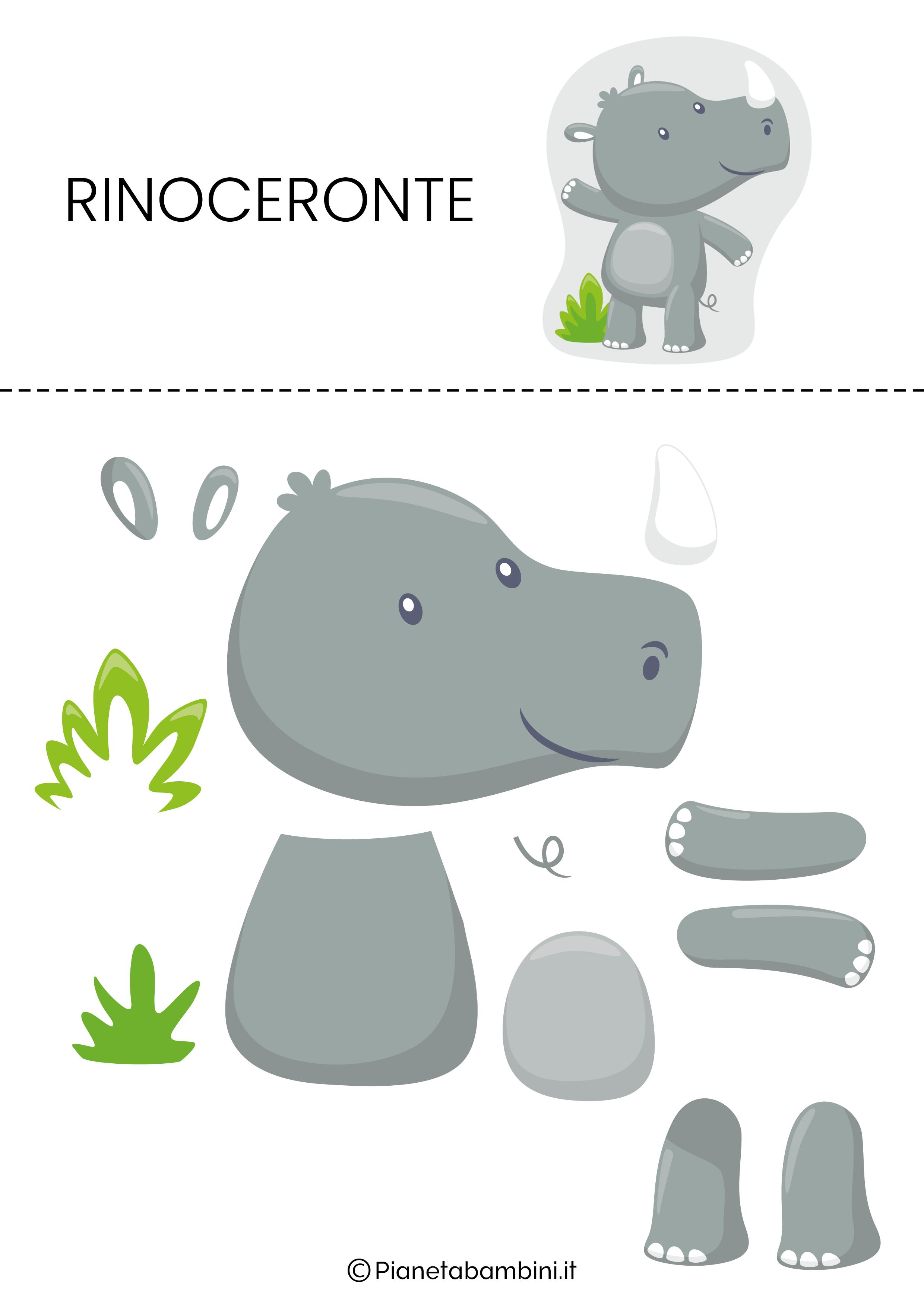 Puzzle da ritagliare e ricomporre sul rinoceronte