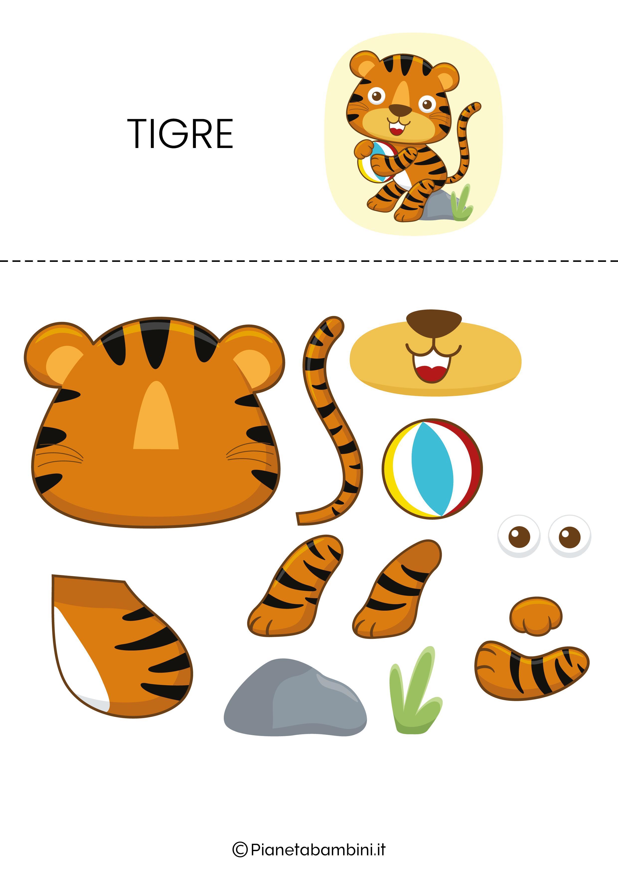 Puzzle da ritagliare e ricomporre sulla tigre
