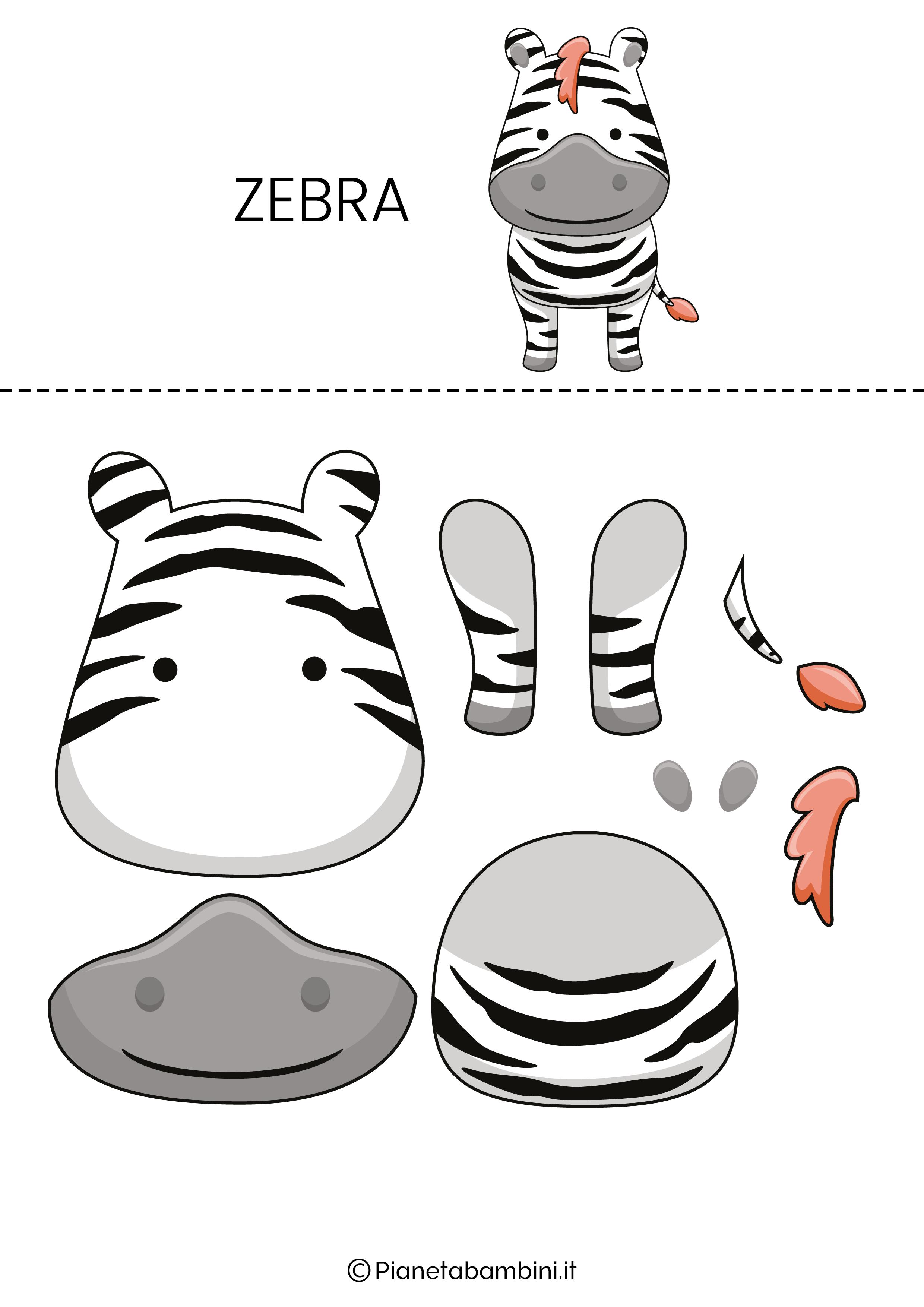 Puzzle da ritagliare e ricomporre sulla zebra