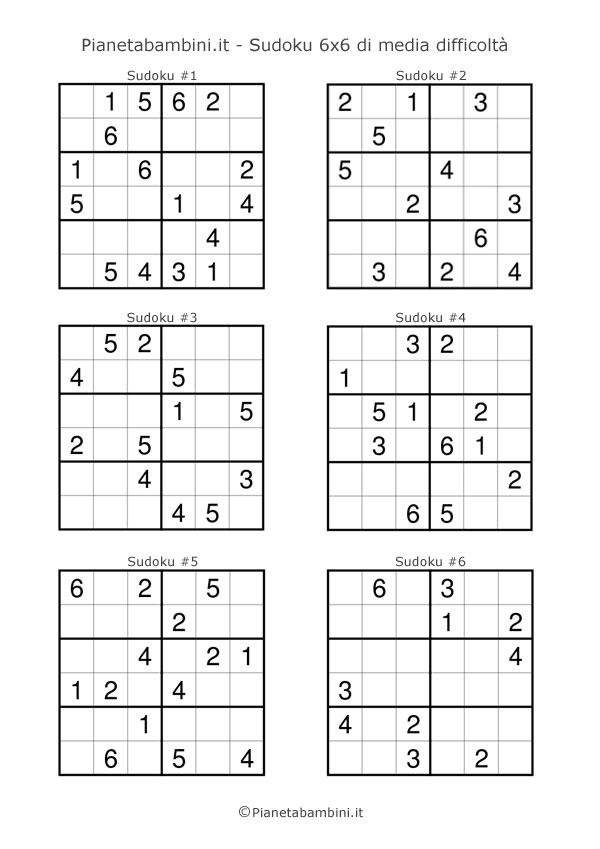 Sudoku di media difficoltà per bambini da stampare pagina 1