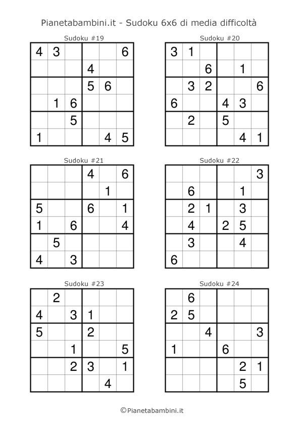 Sudoku di media difficoltà per bambini da stampare pagina 4