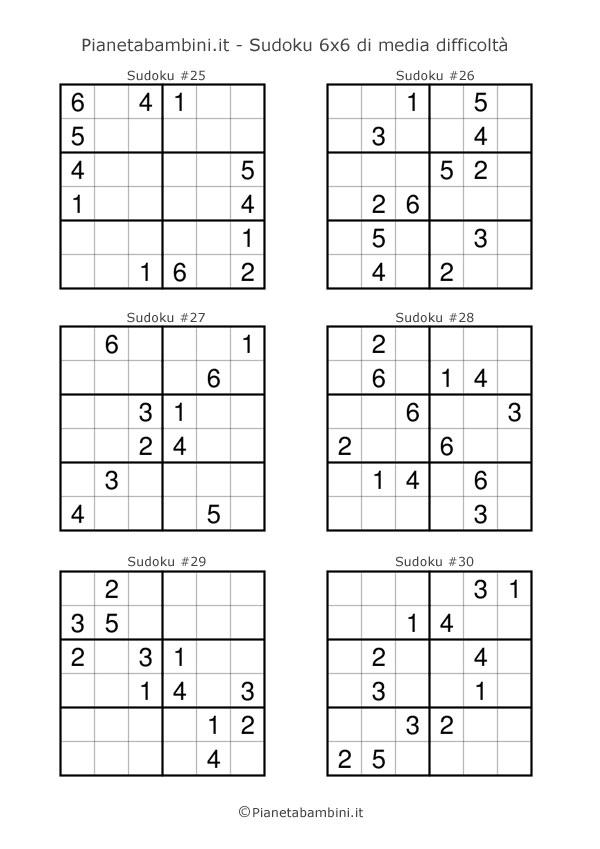 Sudoku di media difficoltà per bambini da stampare pagina 5