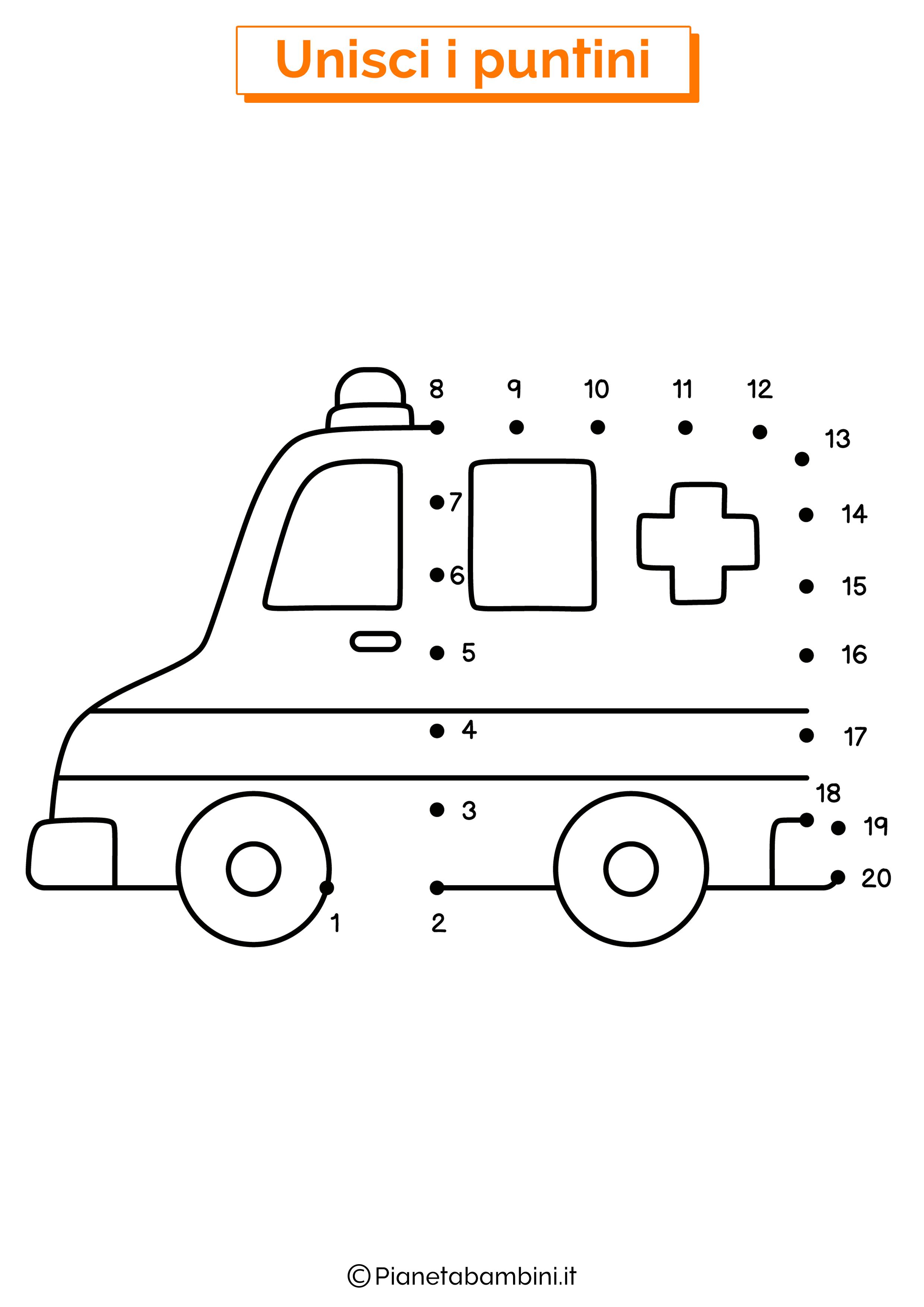 Disegno unisci i puntini ambulanza