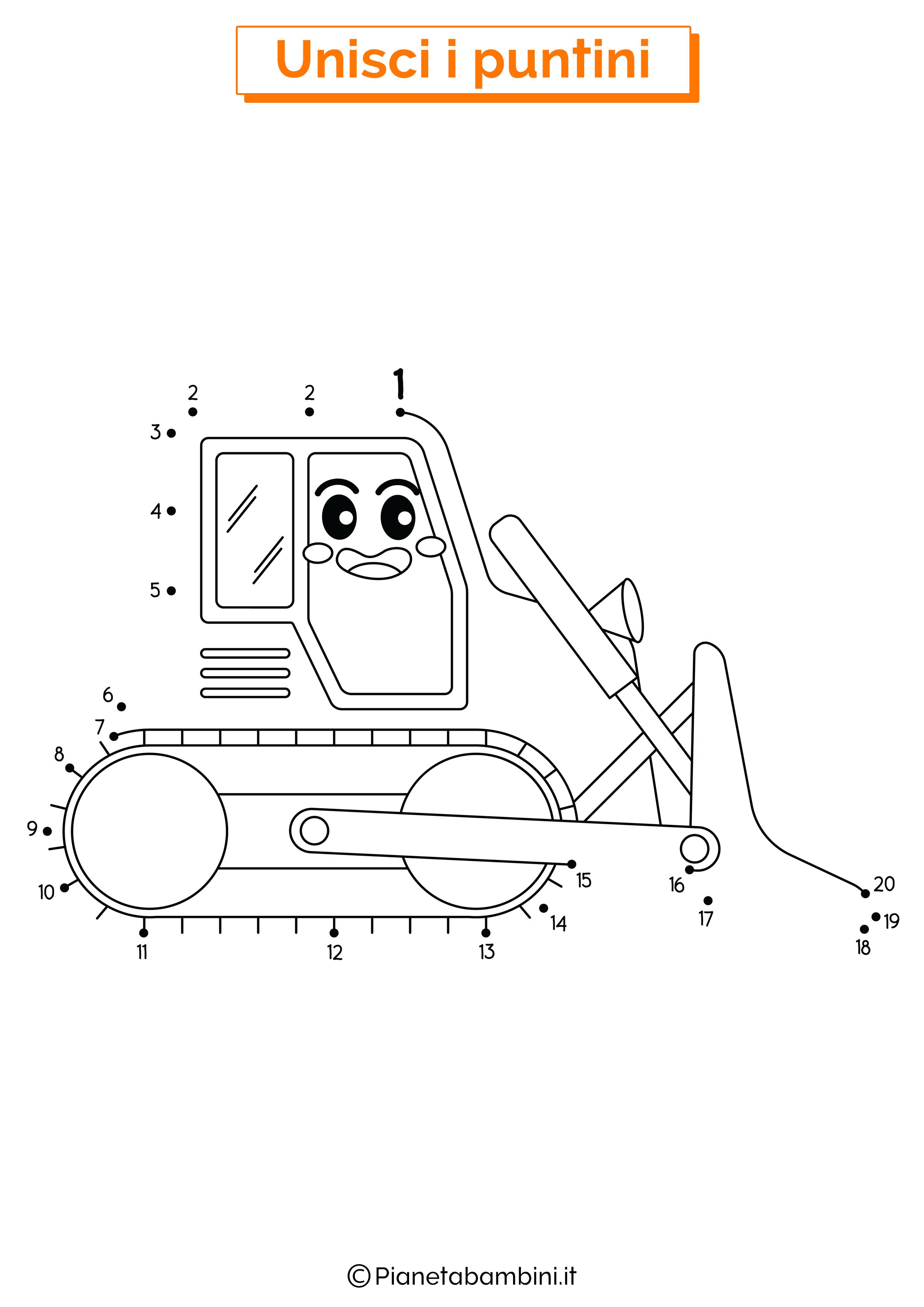 Disegno unisci i puntini bulldozer