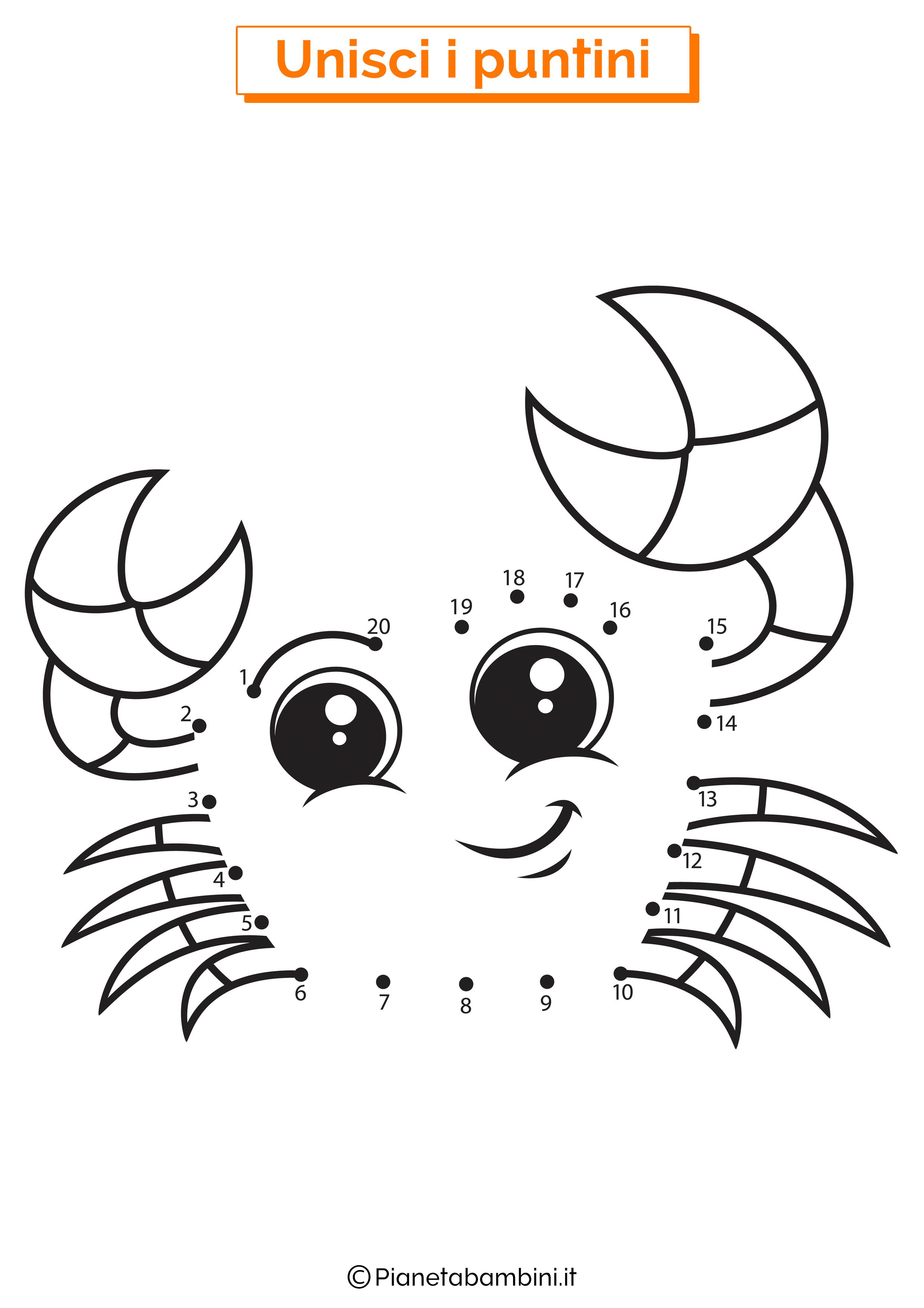 Disegno unisci i puntini granchio