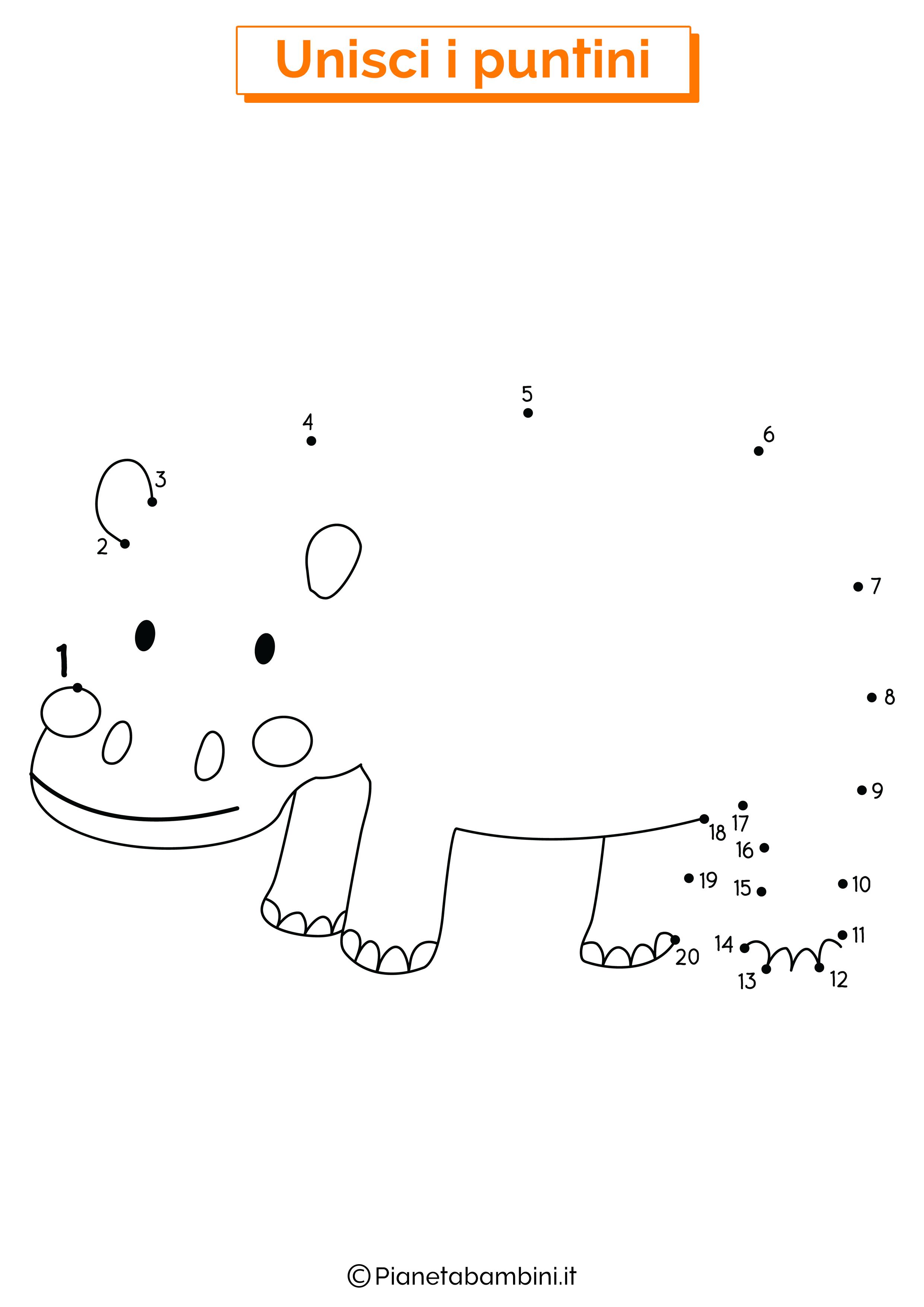 Disegno unisci i puntini ippopotamo