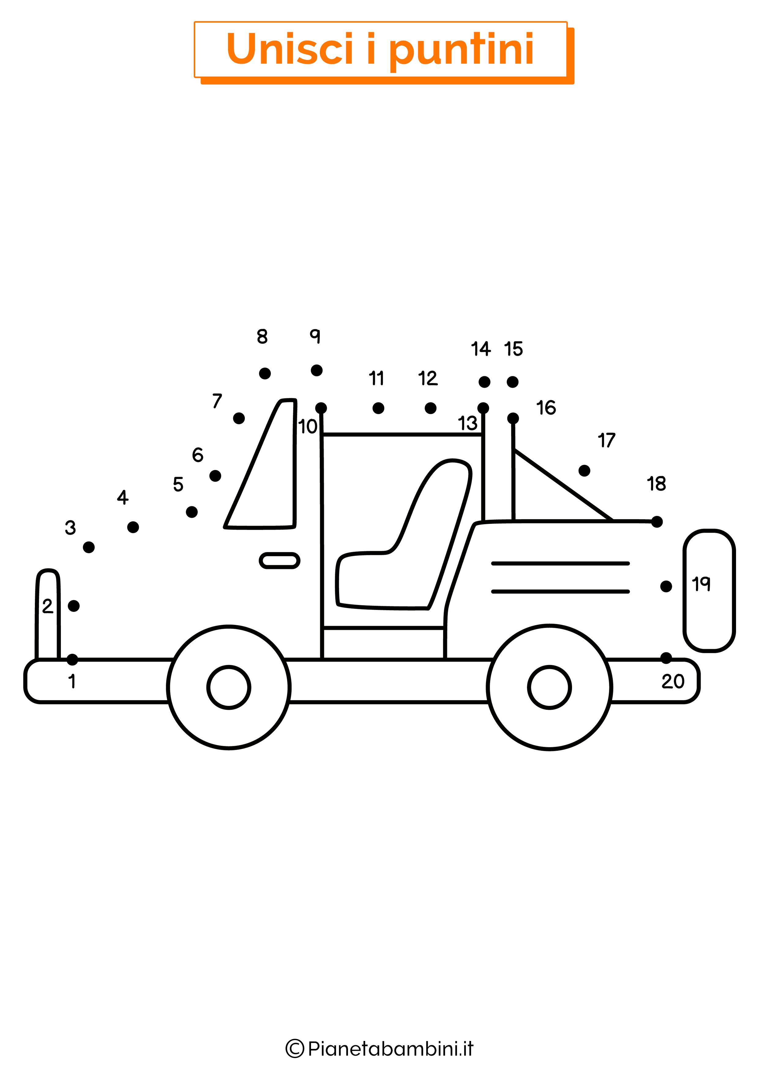 Disegno unisci i puntini jeep