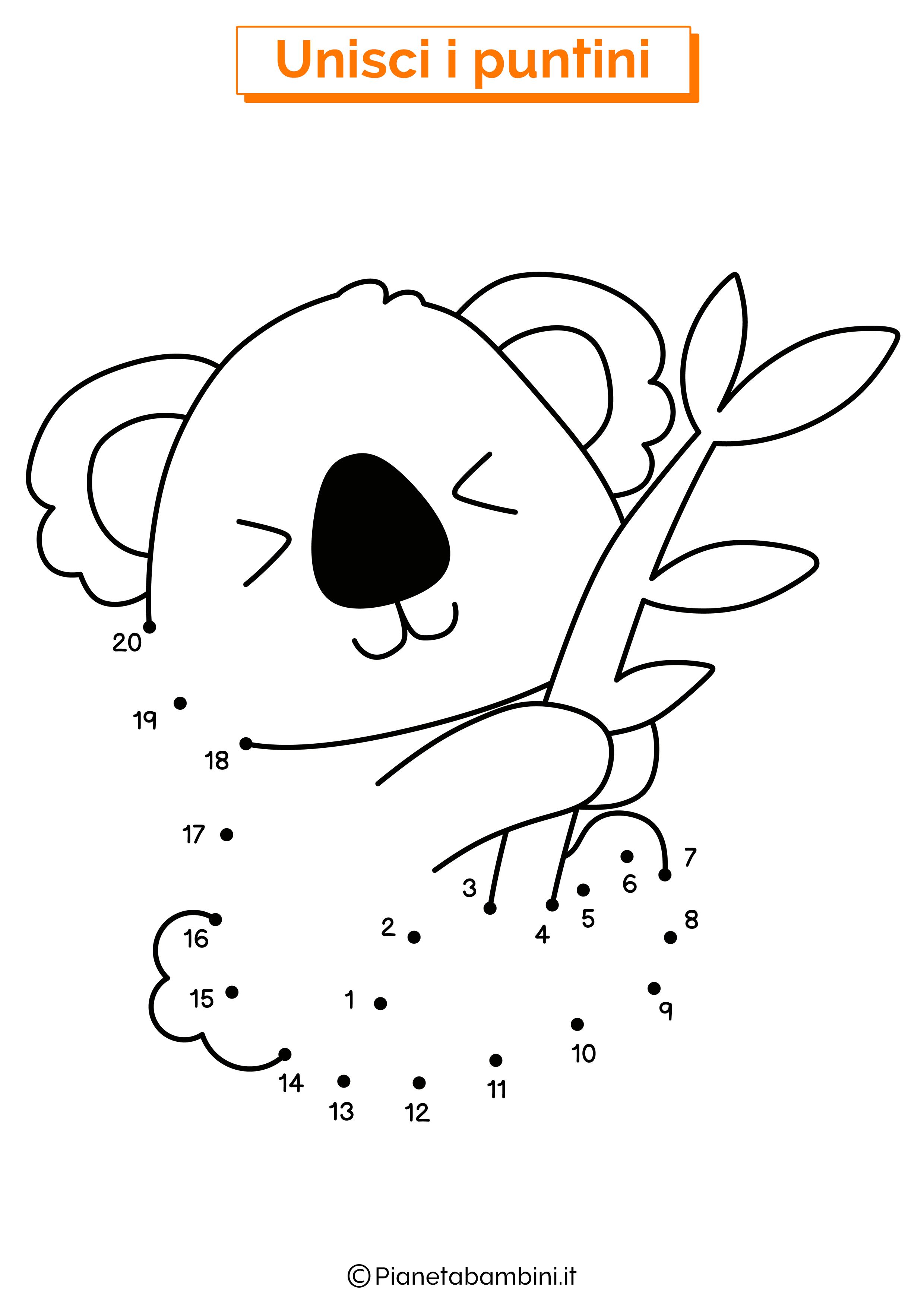 Disegno unisci i puntini koala