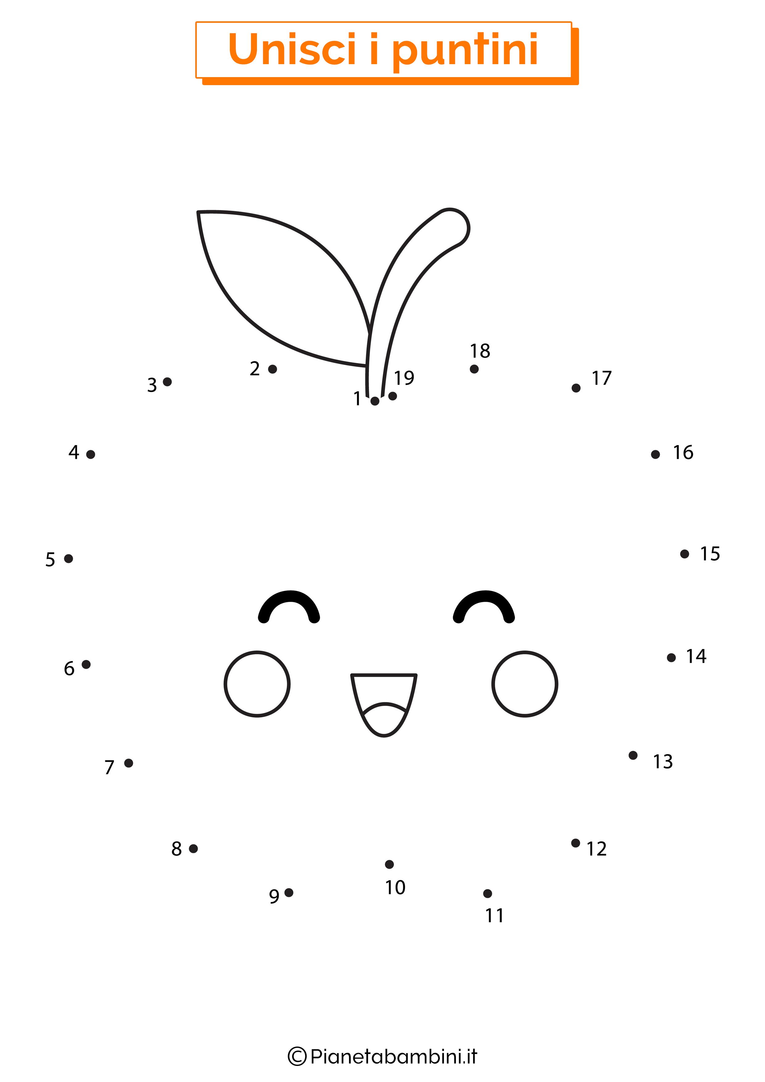 Disegno unisci i puntini mela
