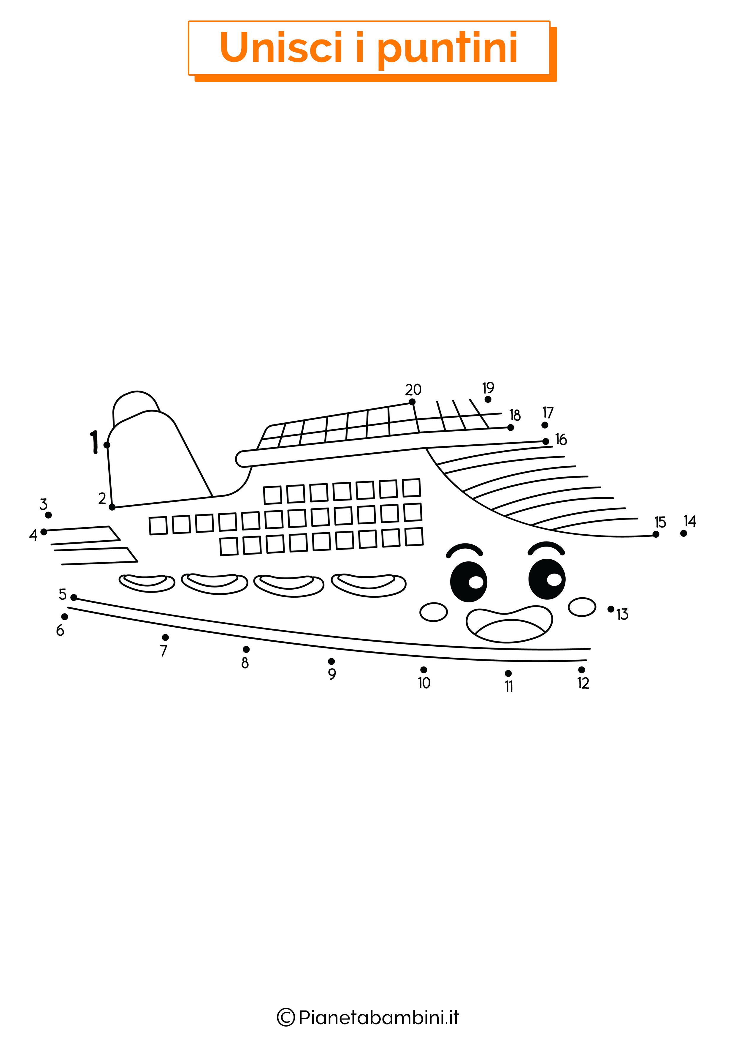 Disegno unisci i puntini nave