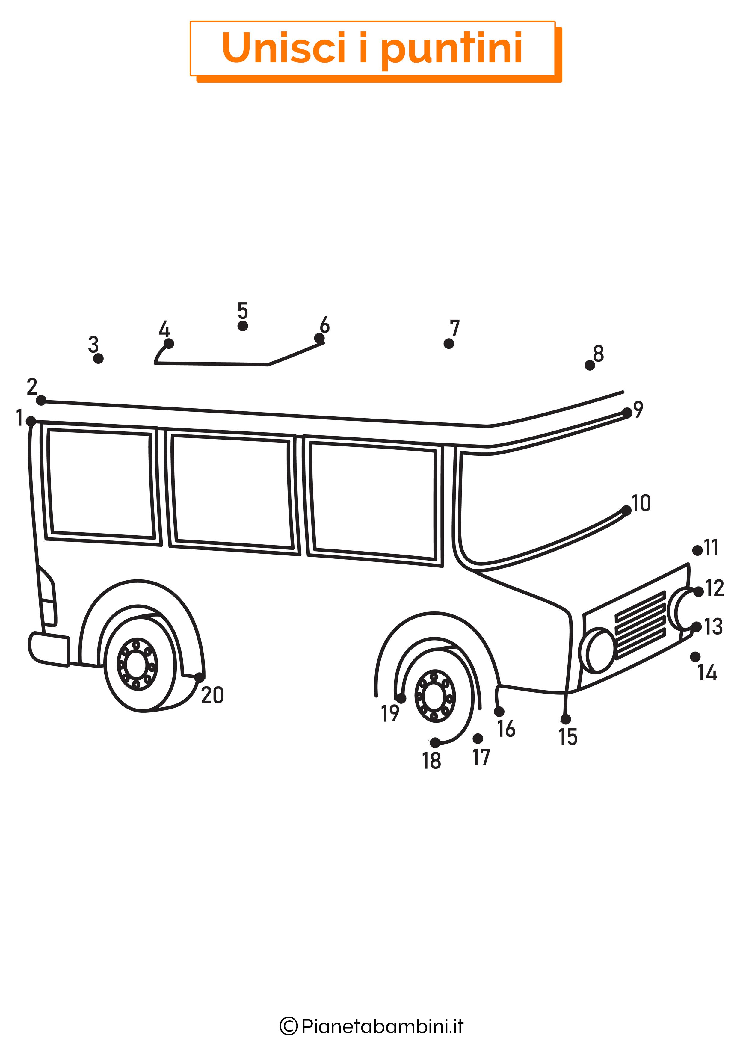 Disegno unisci i puntini scuolabus