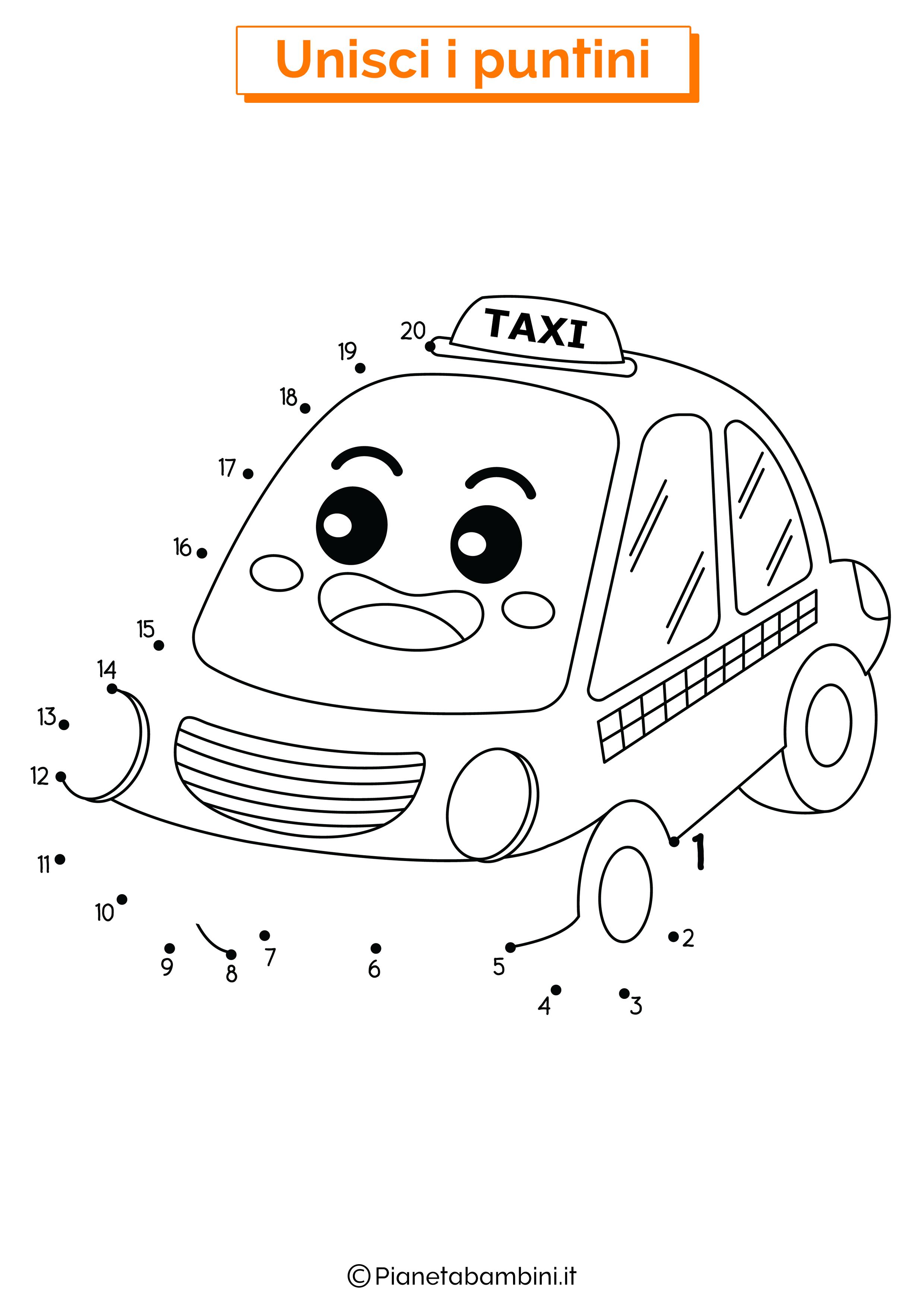 Disegno unisci i puntini taxi