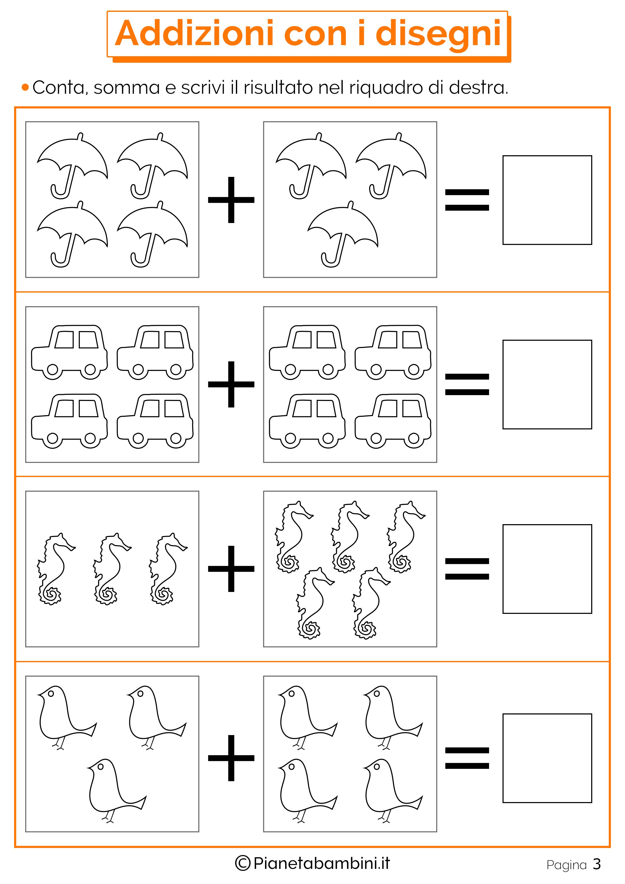 Très Giochi di Matematica sulle Addizioni per Bambini da Stampare  TA54