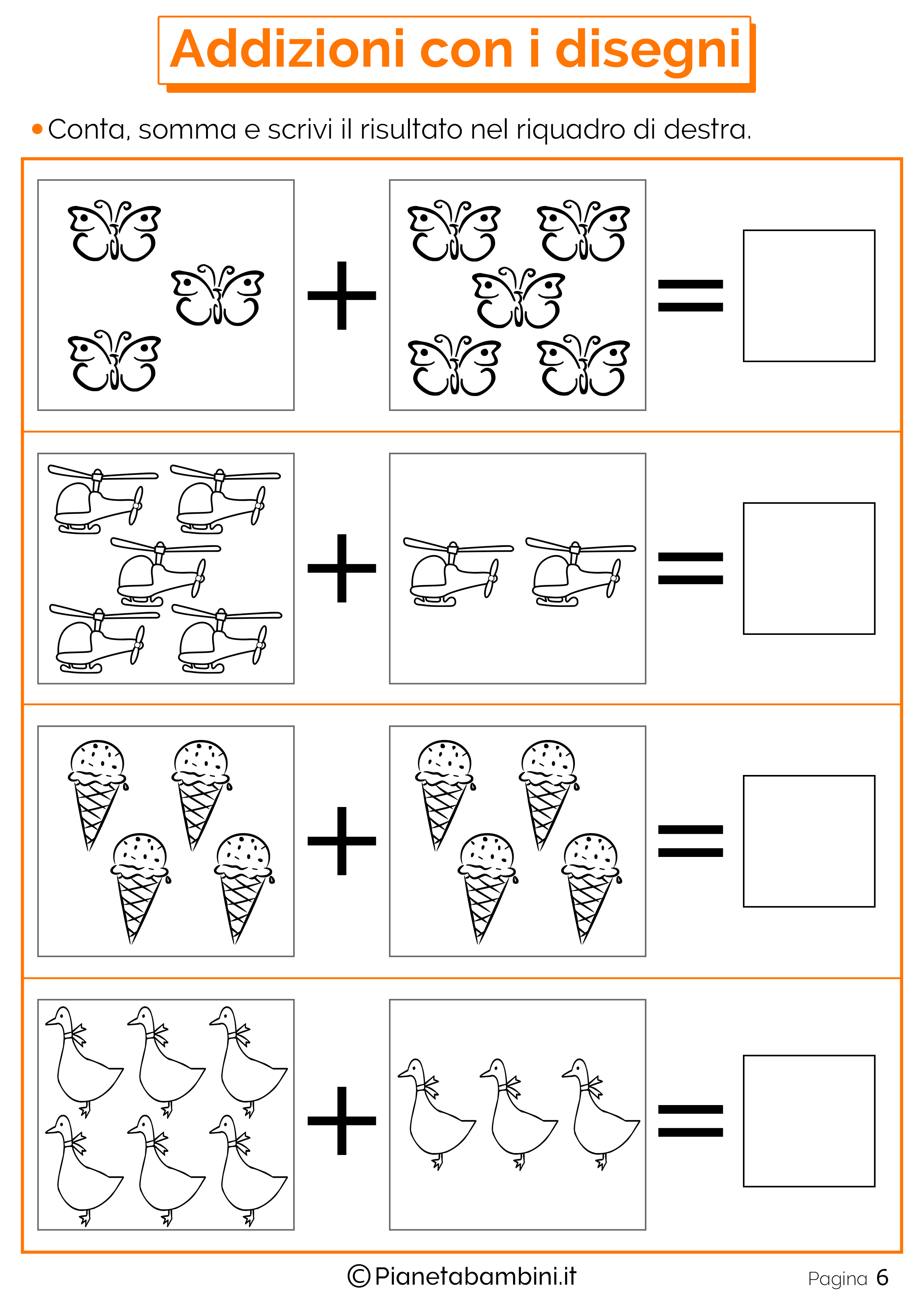 Addizioni E Sottrazioni Con Disegni Per Bambini Pianetabambini It