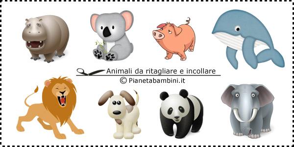 Disegni di animali da ritagliare e incollare per bambini - Animali immagini da colorare pagine da colorare ...