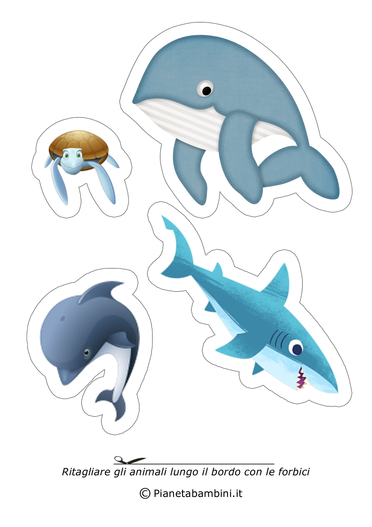 Disegni di animali da ritagliare e incollare per bambini for Immagini di animali marini da stampare