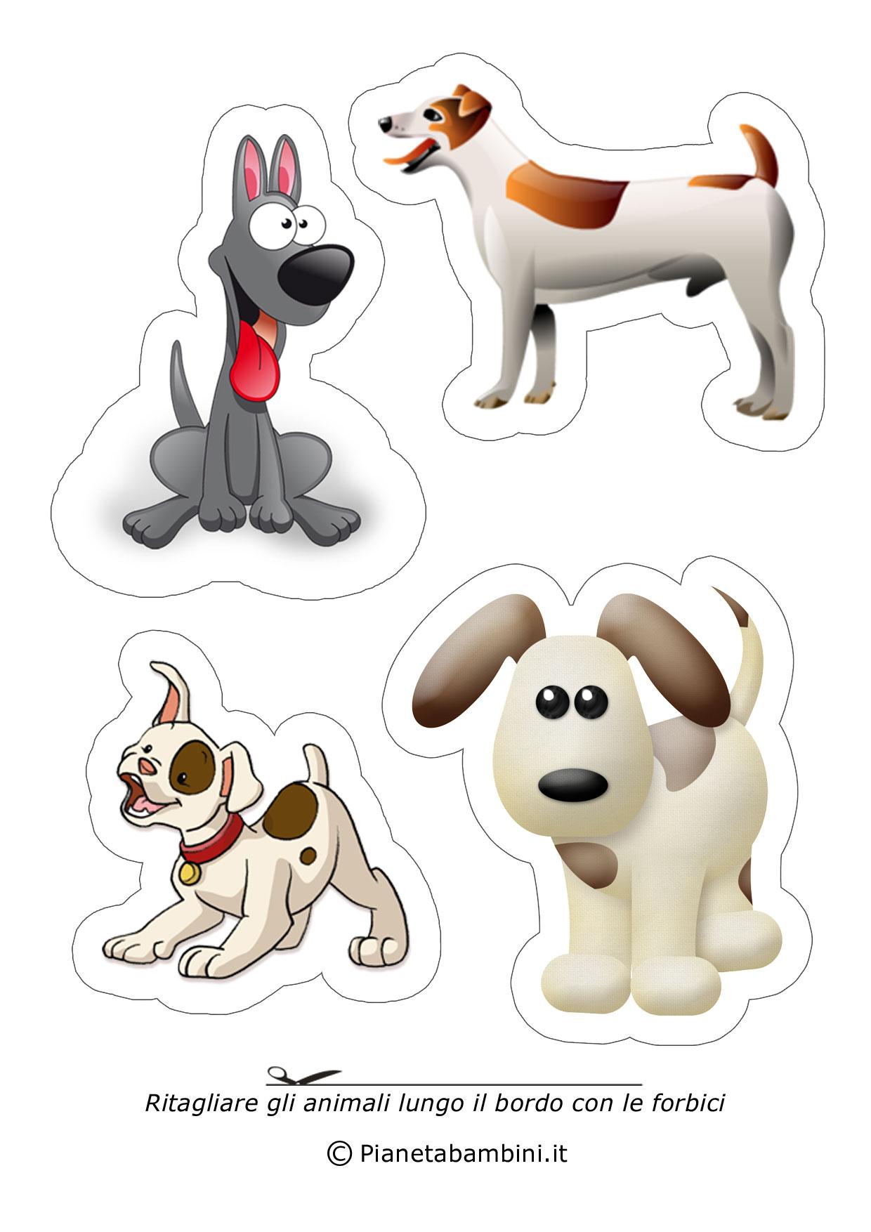 Disegni di animali da ritagliare e incollare per bambini - Cane da colorare le pagine libero ...