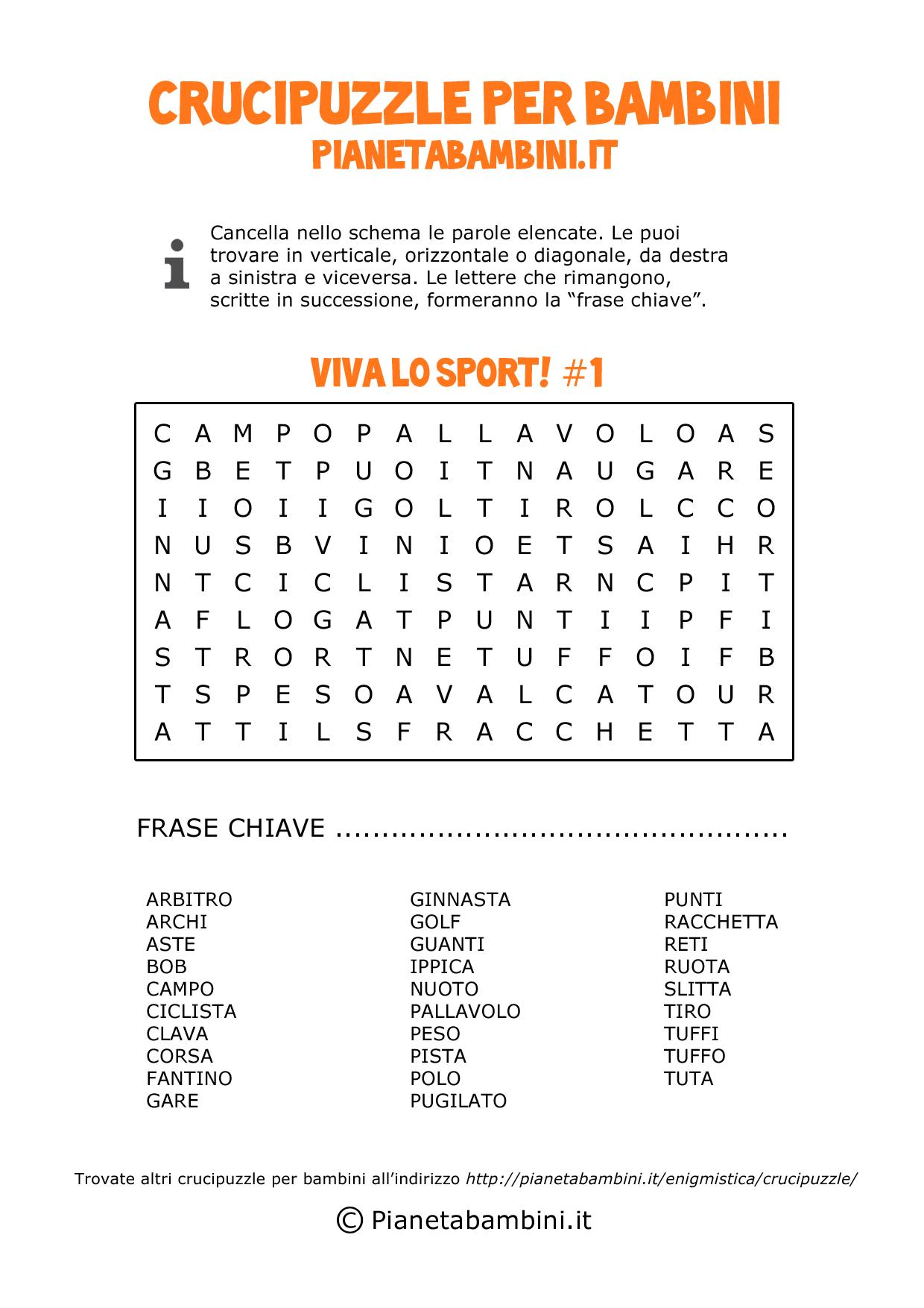 Crucipuzzle sullo sport n°1