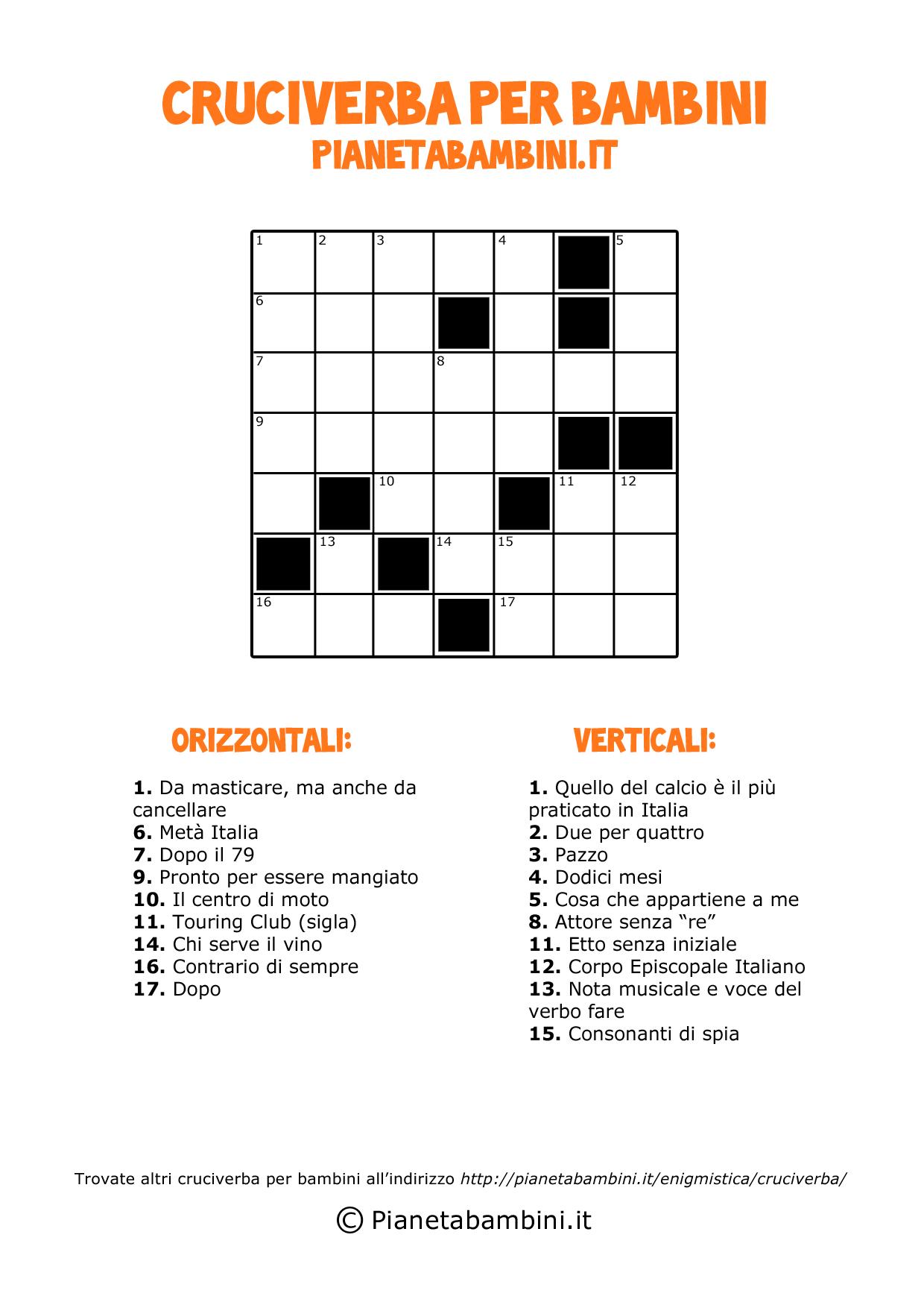 Cruciverba classico 7x7 per bambini