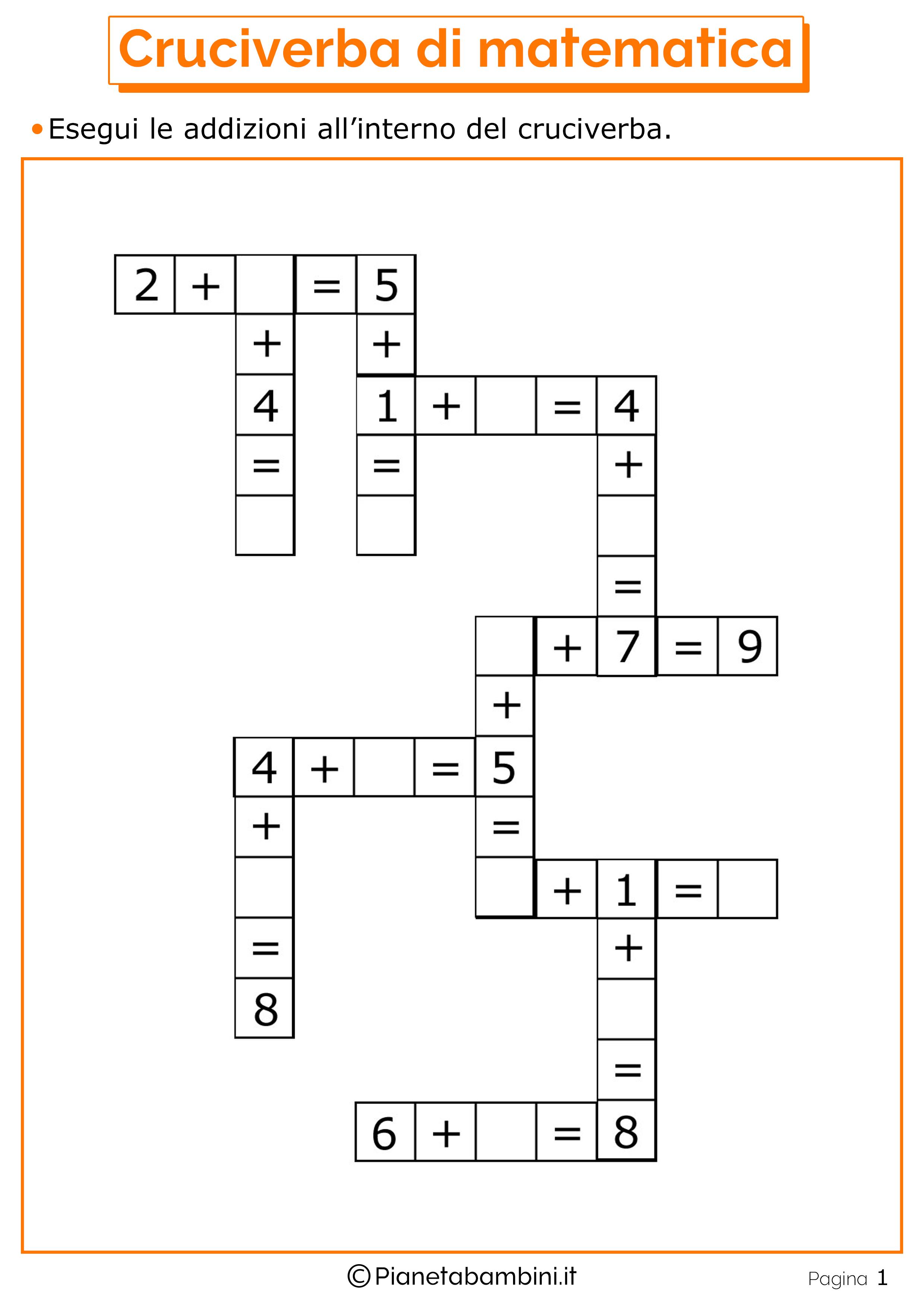 Giochi di matematica sulle addizioni per bambini da for Cruciverba per anziani da stampare